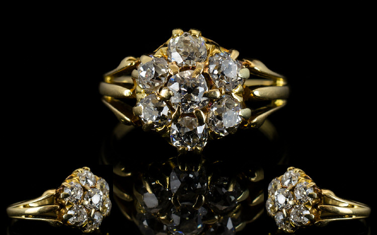Lot 72 - Antique 18ct Gold And Diamond Cluster Ri
