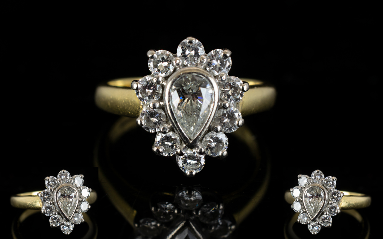 Lot 75 - 18ct Gold Attractive Nice Quality Pear S