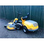 STIGA 520L RIDE ON MOWER YEAR 2013. COMBI DECK FITTED WHEN TESTED WAS SEEN TO RUN, DRIVE AND MOWER
