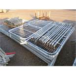 HERAS TYPE TEMPORARY FENCE PANELS PLUS GATES...7 PANELS, 3 GATES PLUS PEDESTRIAN GATE, 13 WIND