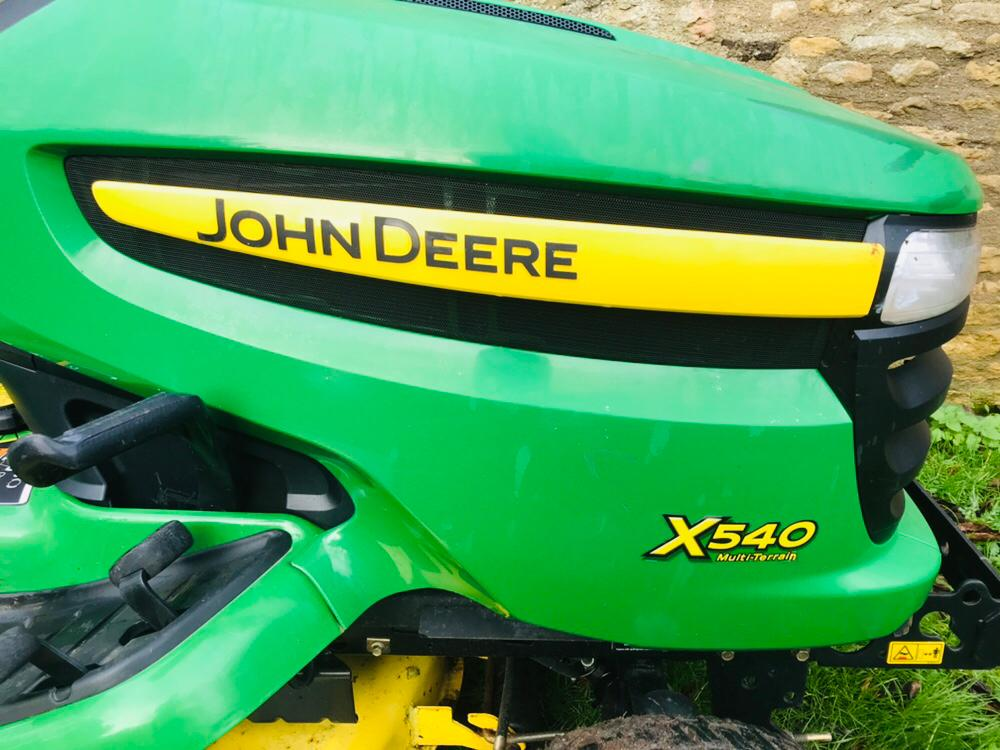 "Lot 91 - JOHN DEERE X540 MULTI TERRAIN RIDE ON MOWER, YEAR 2009, 54"" SIDE DISCHARGE DECK. WHEN TESTED WAS"