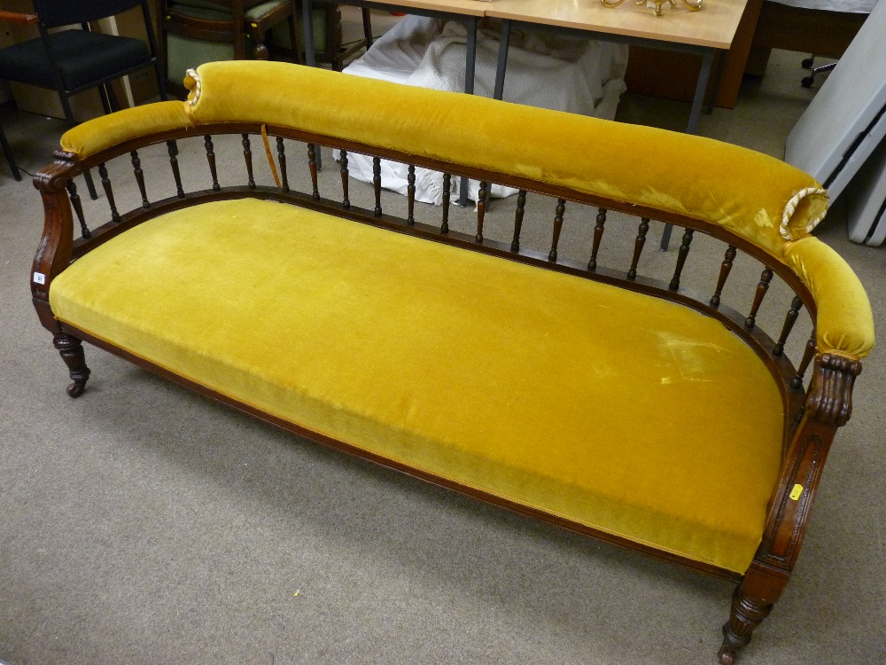 An Edwardian Carved Mahogany Salon Settee The Curved