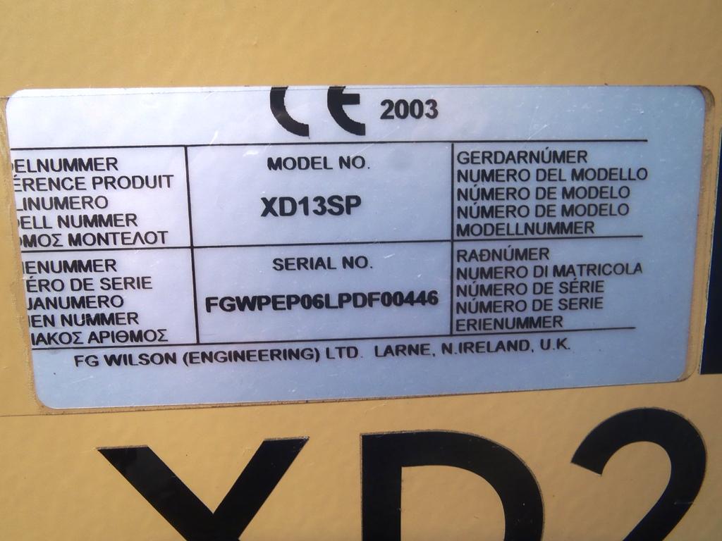 Lot 1 - FG Wilson Generator Set - XD20P2 - 2003 13kVA