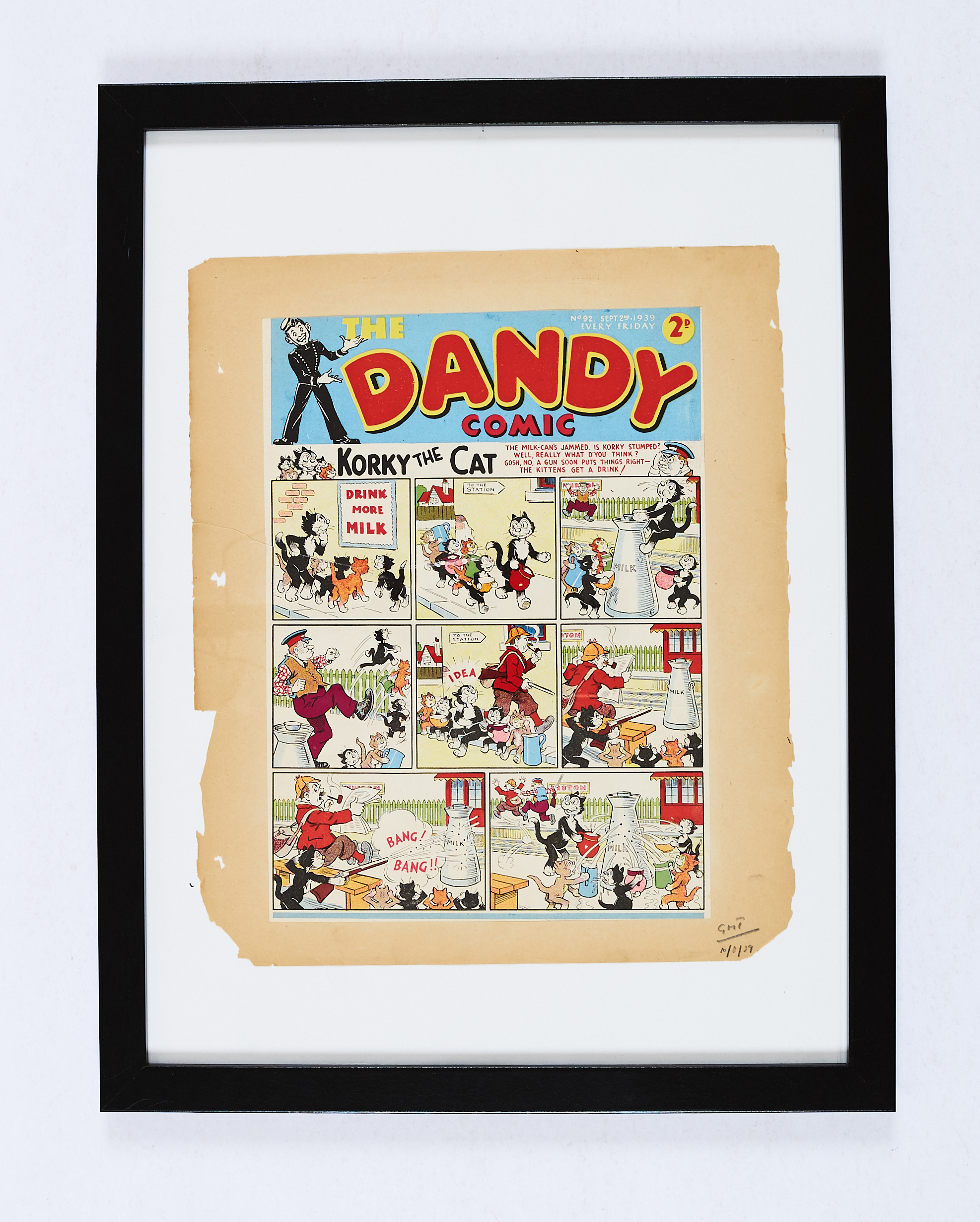 Lot 19 - Dandy No 92 (1939) D C Thomson front cover printer's proof dated and signed off for production by