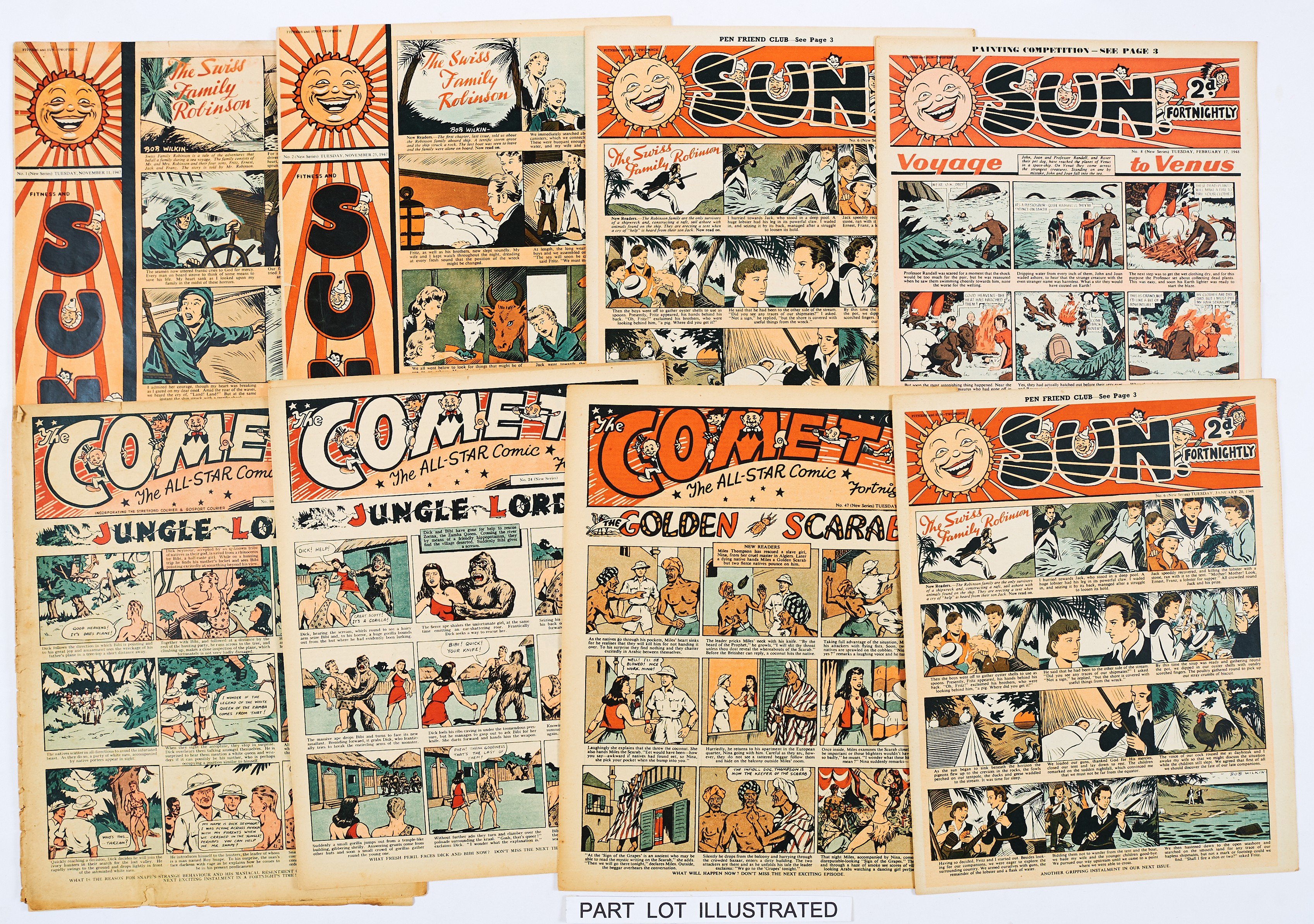 Lot 42 - Fitness and Sun/Sun (1947-48) 1, 2, 5, 6 (x2), 7-10, 16, 17, 20, 43, 74. With Comet (1947-51) 14,