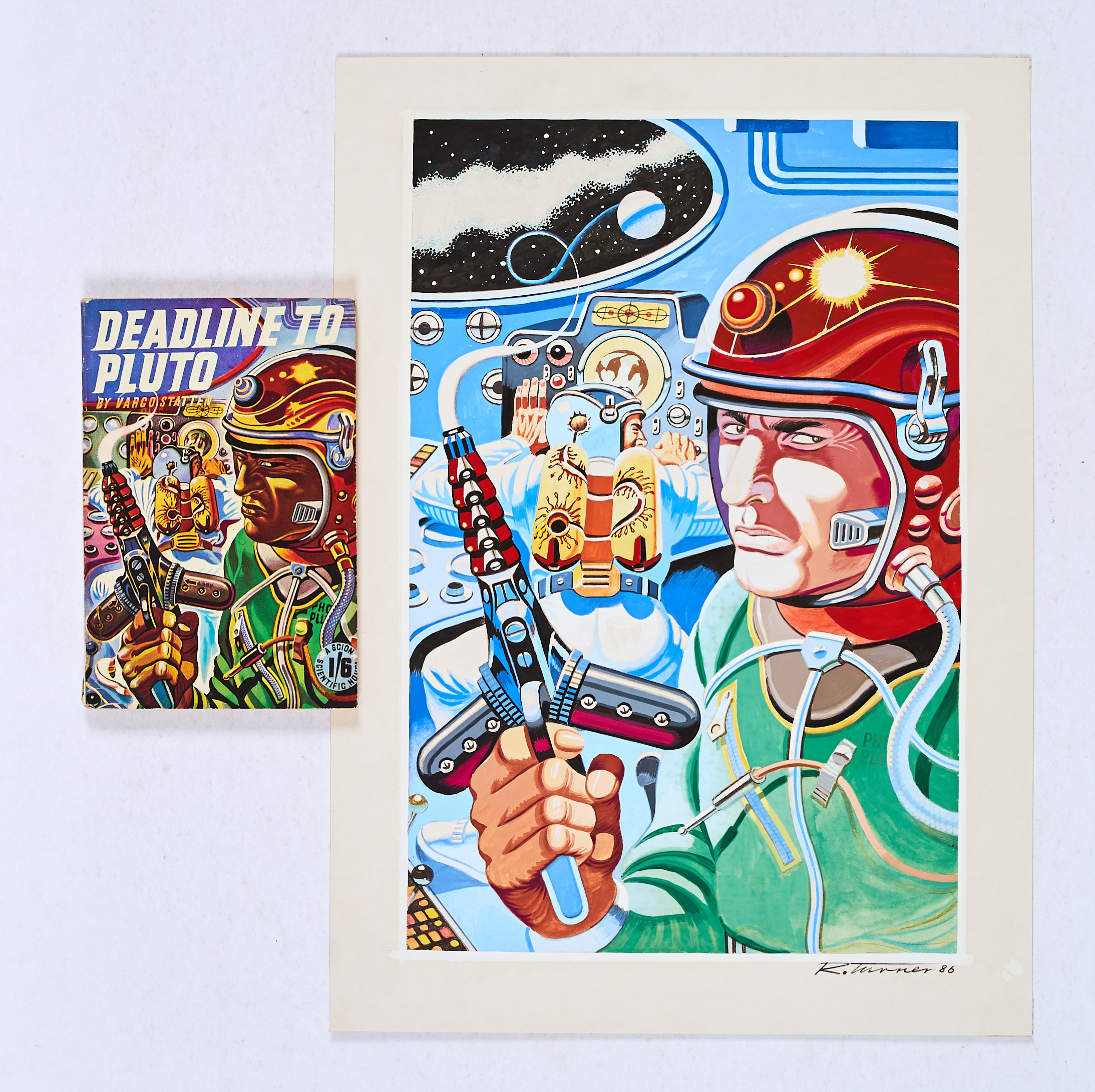 Lot 121 - Vargo Statten re-creation artwork (1986) dated and signed by Ron Turner. Ron Turner re-creates his