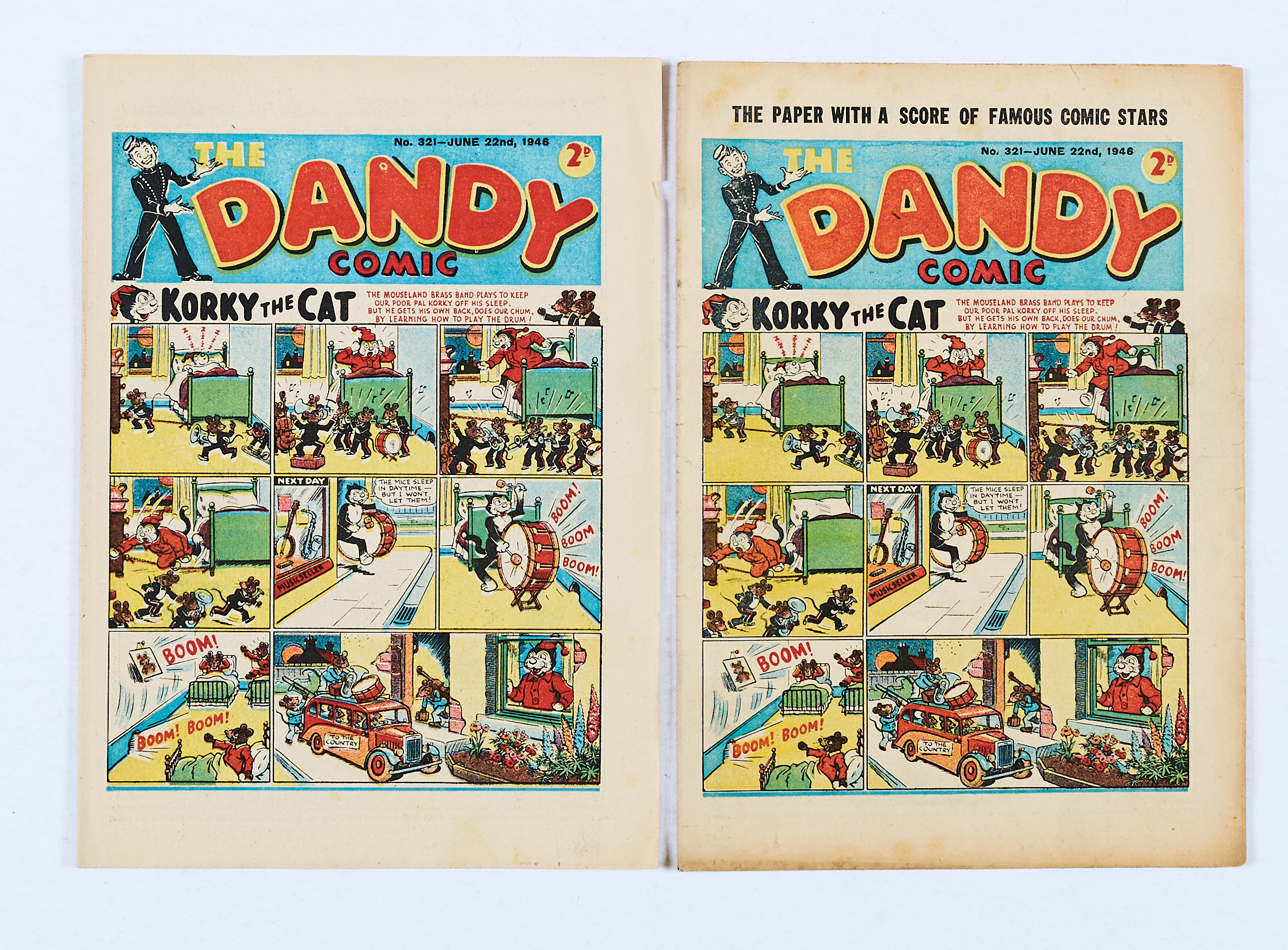 Lot 22 - Dandy 321 (June 22 1946) misprint top cover variant with original No 321 issue [vg+/fn] (2)