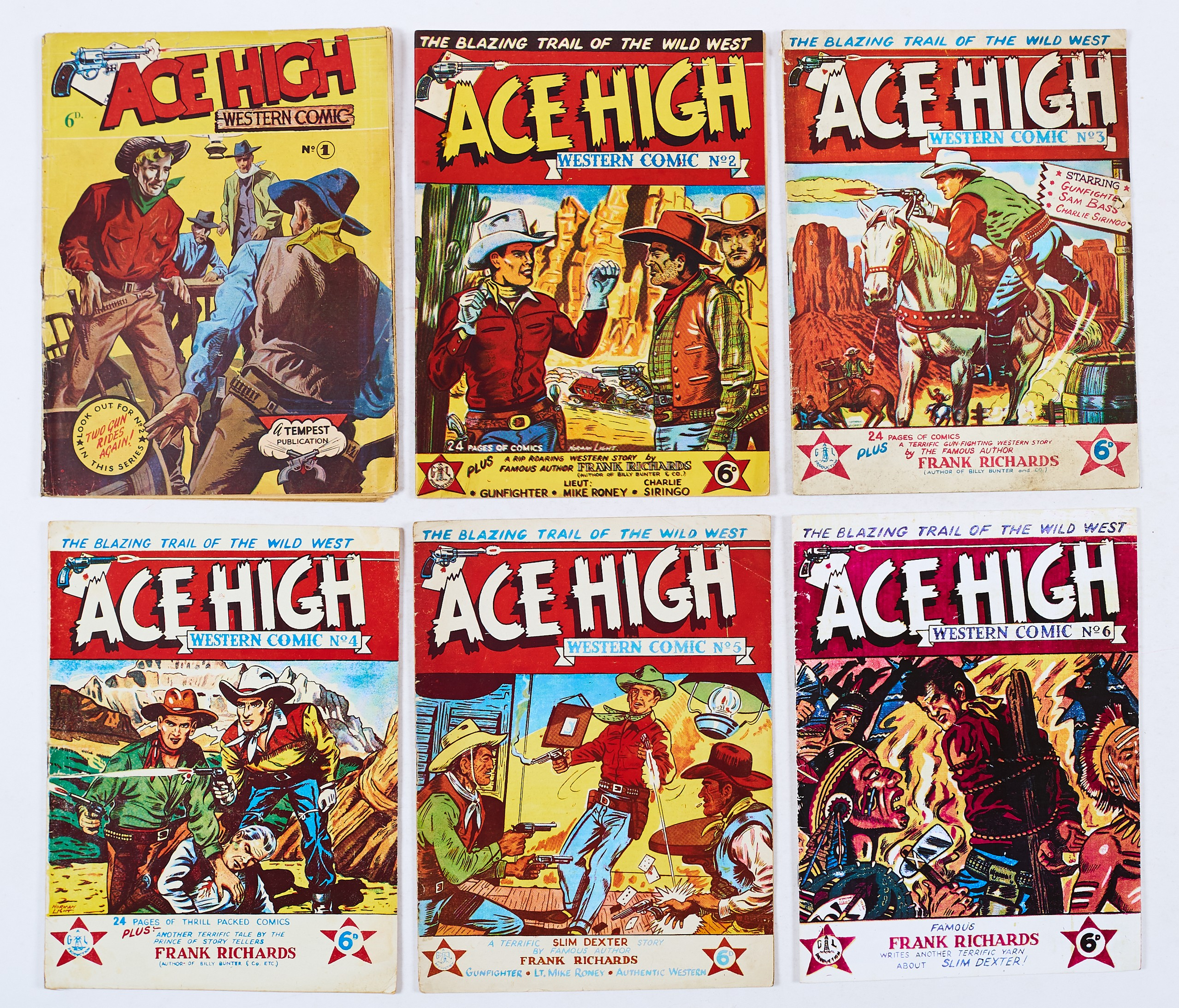 Lot 51 - Ace High Western (1950s Gould-Light) 1-5. With No. 6 facsimile. With art by Norman Light, Ron