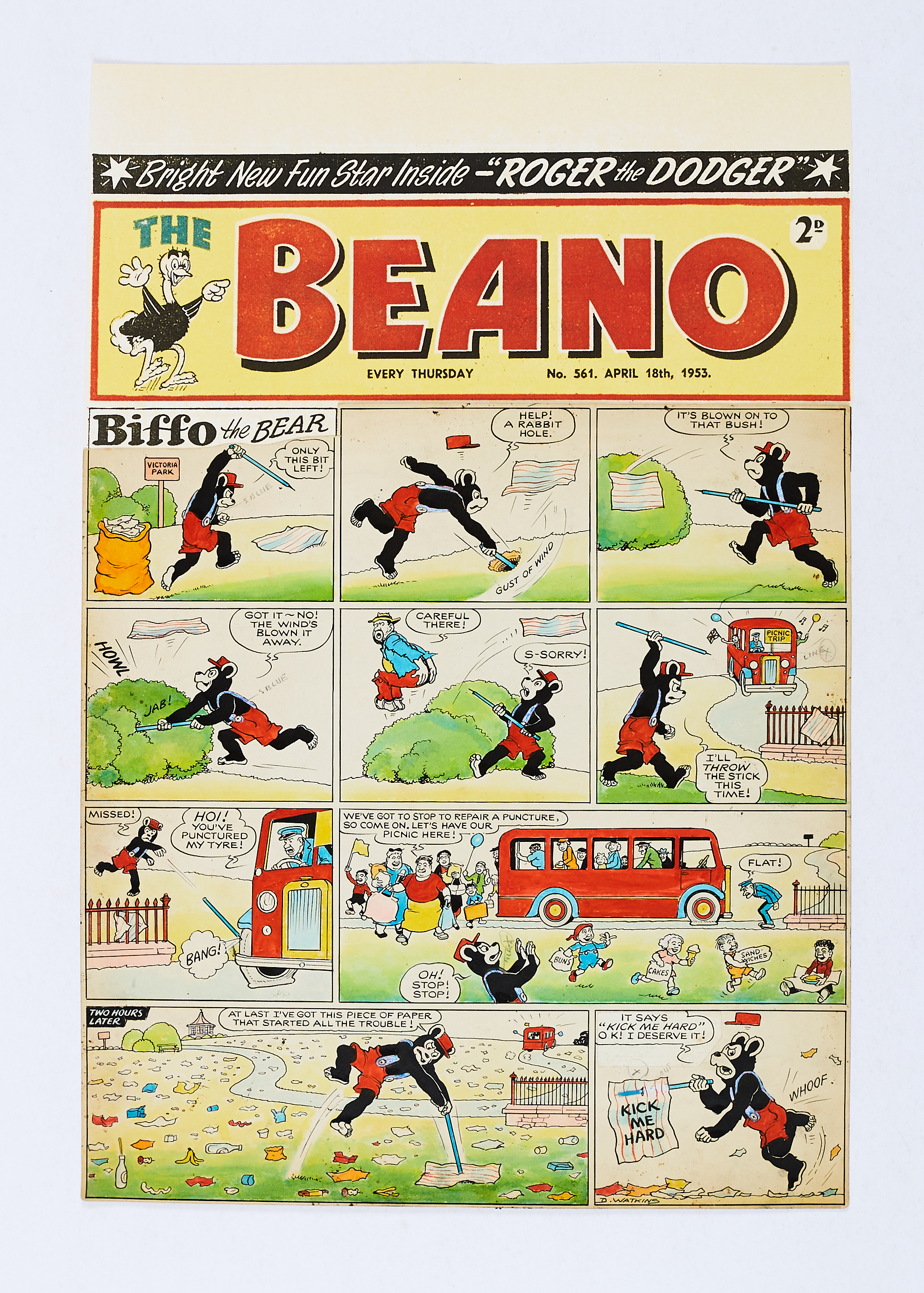 Lot 58 - The Beano/Biffo the Bear original front cover artwork (1953) drawn, painted and signed by Dudley