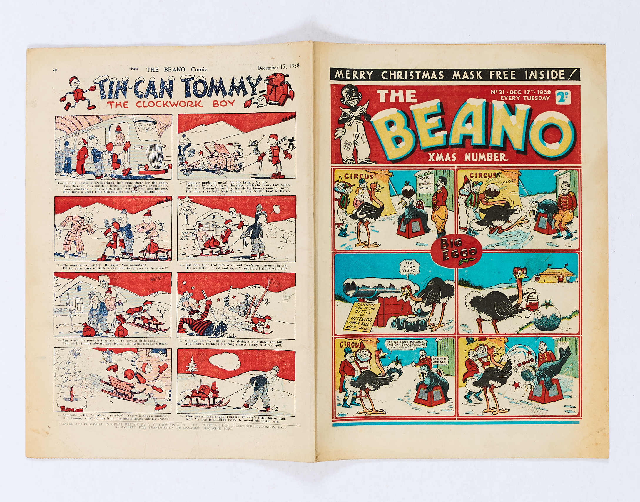 Lot 24 - Beano Comic No 21 (1938). First Xmas Number. Bright covers, interior pages have some light