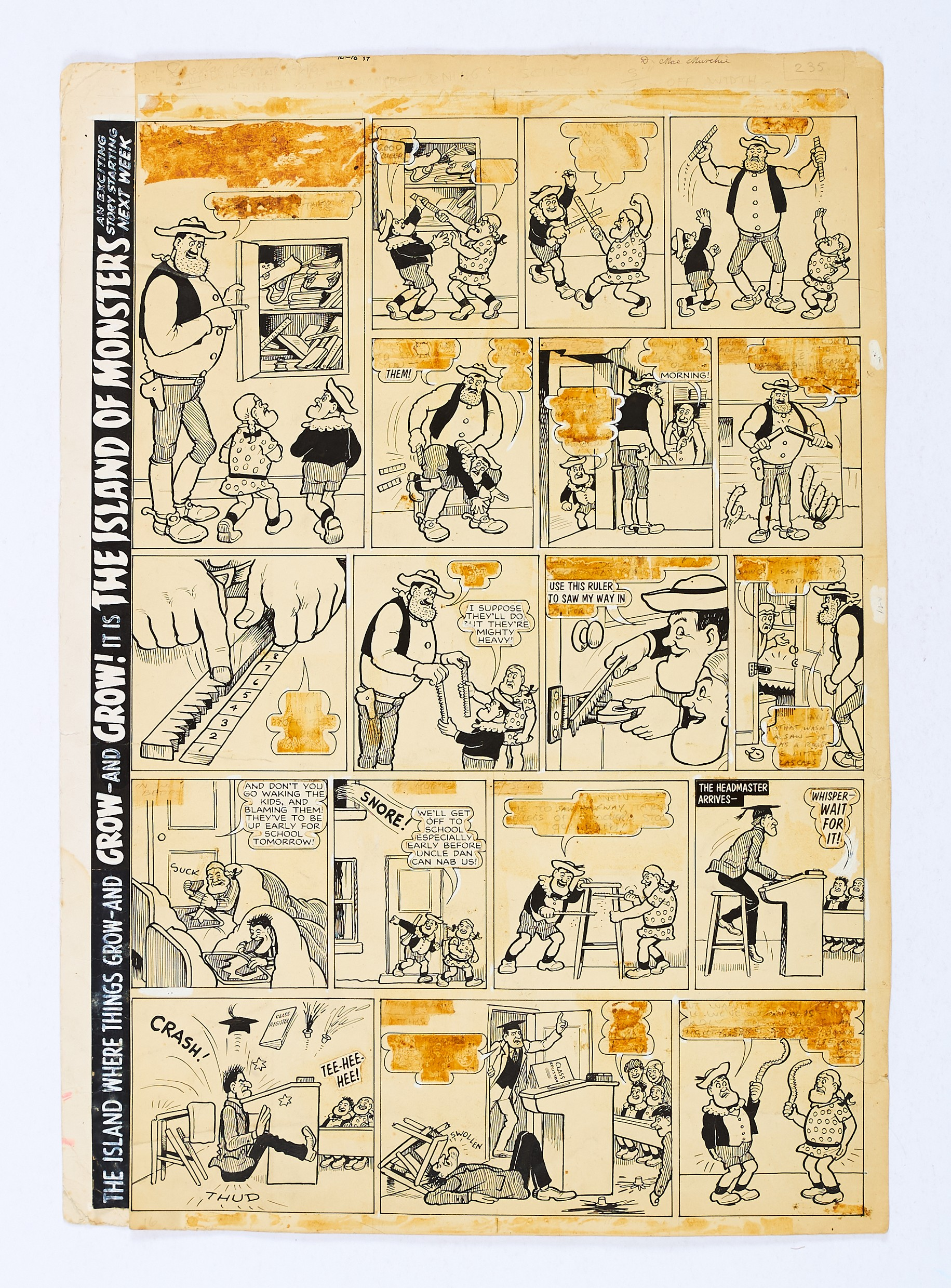 Lot 108 - Desperate Dan original artwork (1969) by Dudley Watkins from The Dandy (1969). Dan makes special