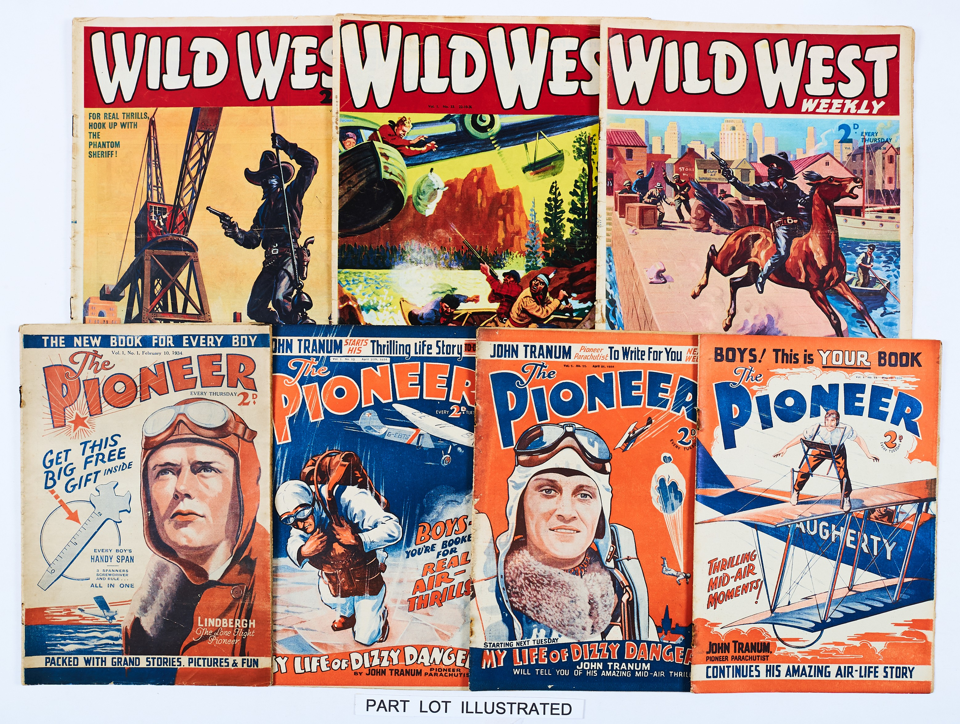 Lot 14 - Pioneer (1934) 1, 11, 12, 14. With Wild West (1939 Am. Press) Vol. 1: No 3, 8, 21, 24-27, 29, 33,
