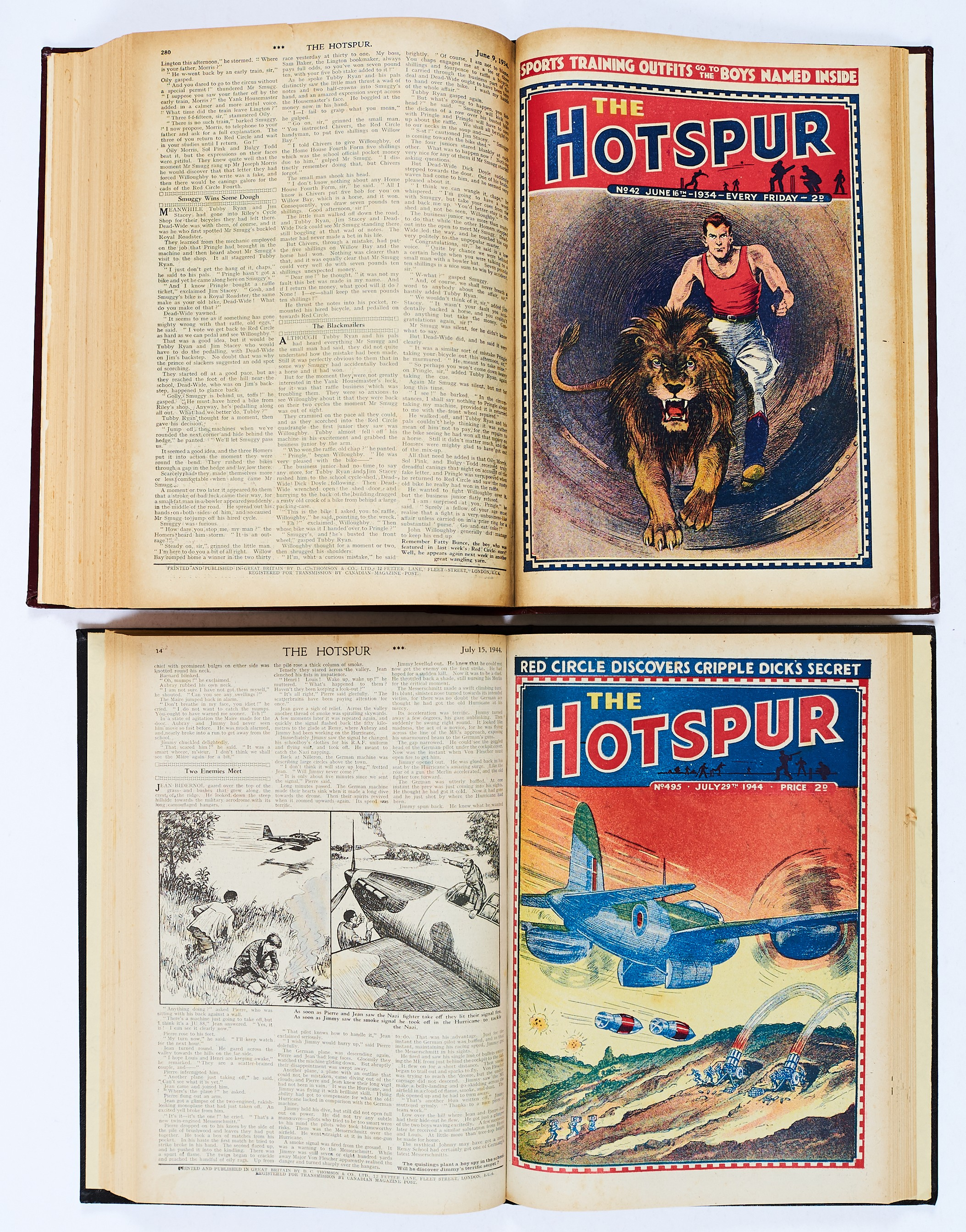 Lot 11 - Hotspur (Jan-Jun 1934) 19-44. In half-year bound volume. With Hotspur (1944) 480-506 complete year