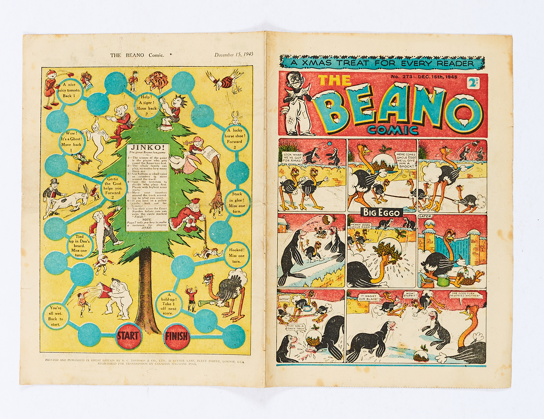 Lot 32 - Beano 273 (1945) Xmas Number 'Jinko' game with all your favourite Beano pals [vg]