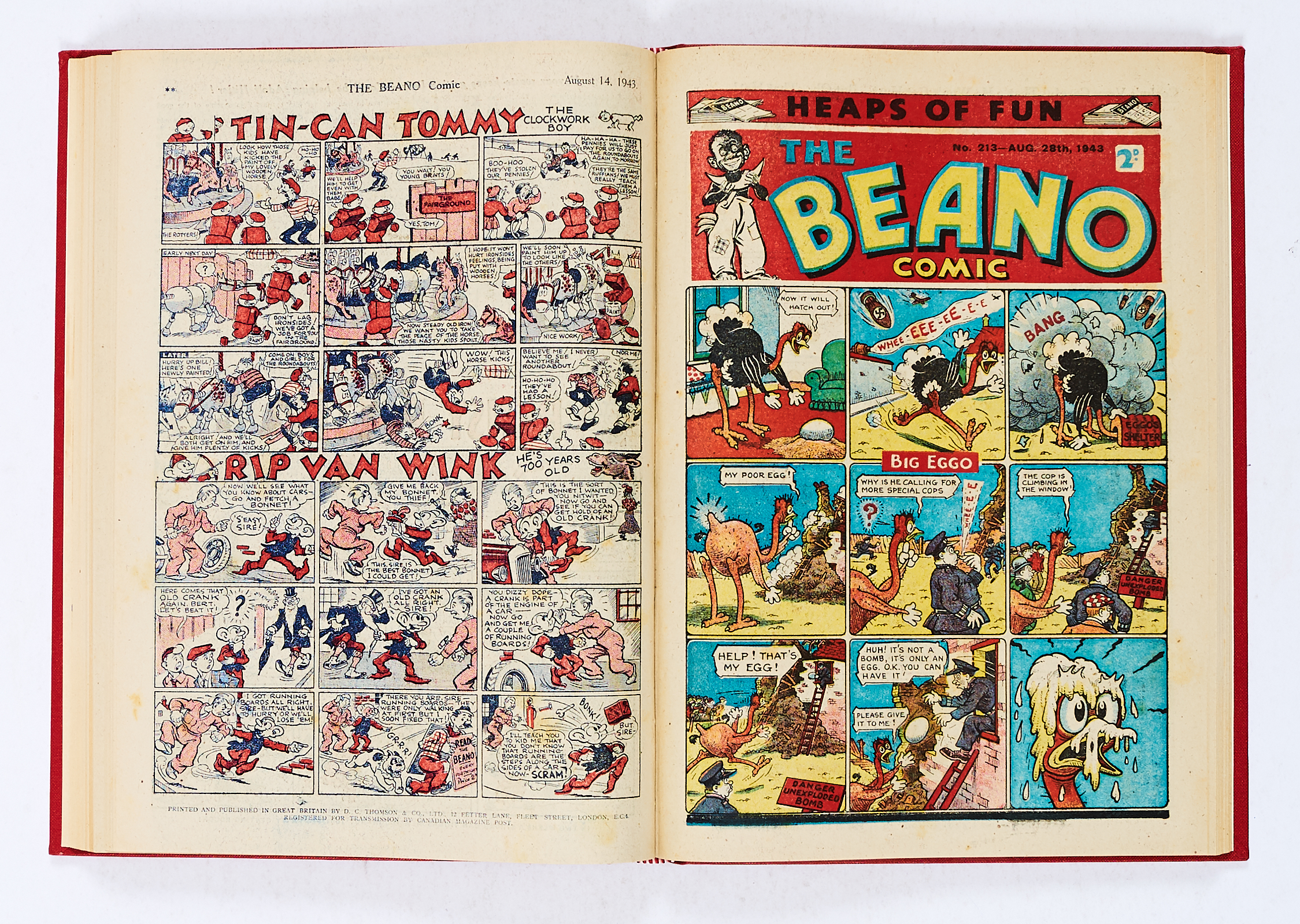 Lot 29 - Beano (1943) 196-221. Complete year in bound volume. Propaganda war issues published fortnightly.