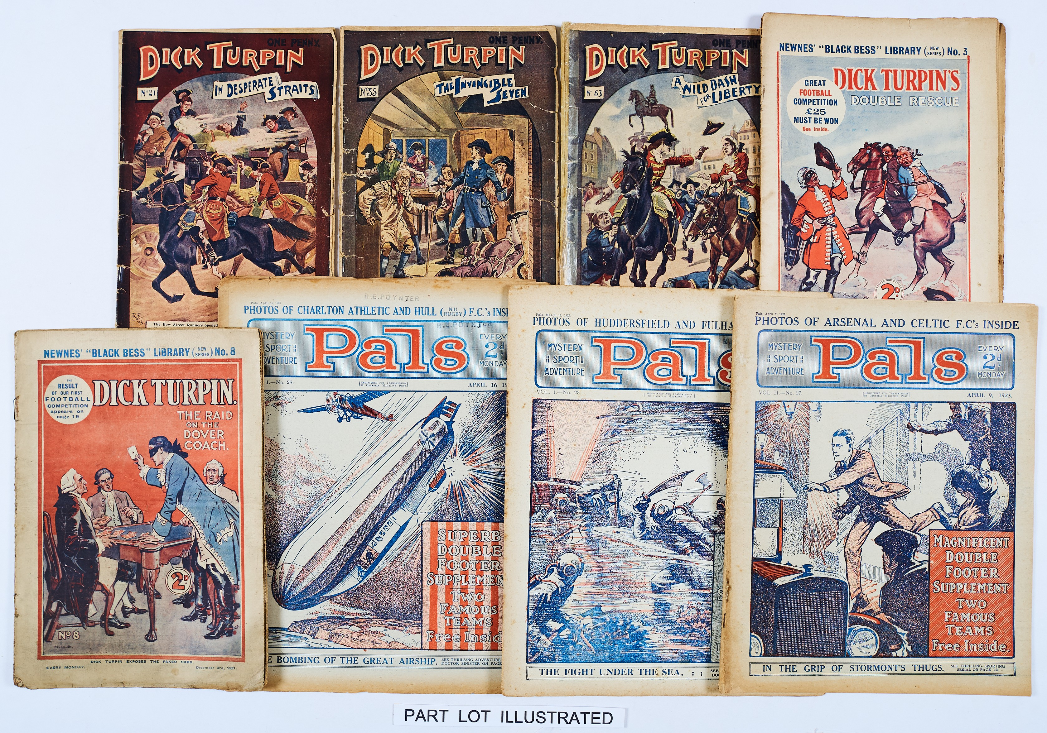 Lot 4 - Dick Turpin (1903-03 Aldine): 21, 55, 63 (1921-22 Newnes): 3, 5 (x2), 8, 9, 12, 23, 25, 29, 30,