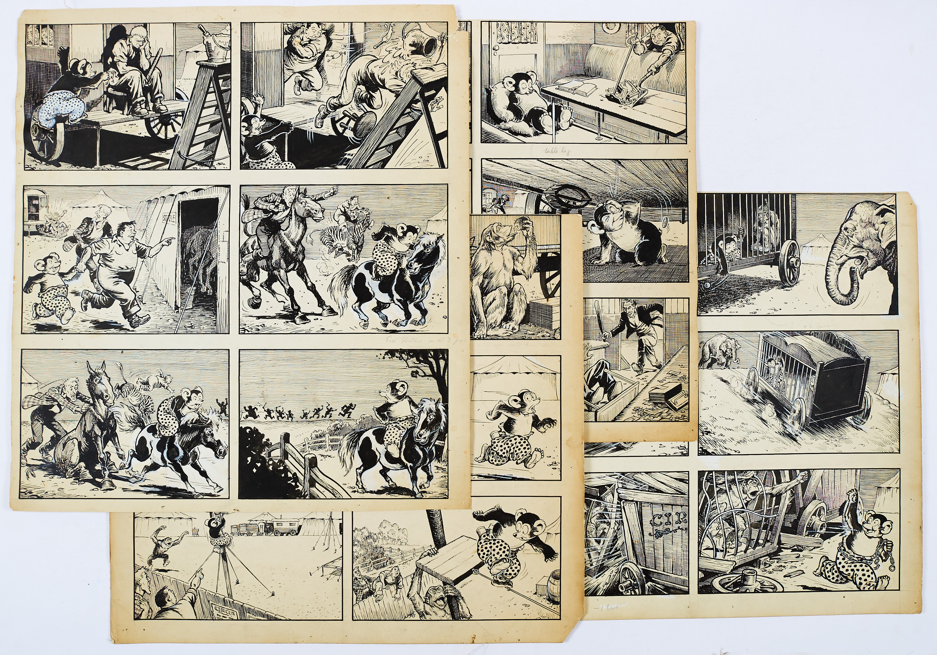 Lot 52 - Barney's Bear original 4 page artwork by George Ramsbottom for The Dandy (1950s). Barney's Bear