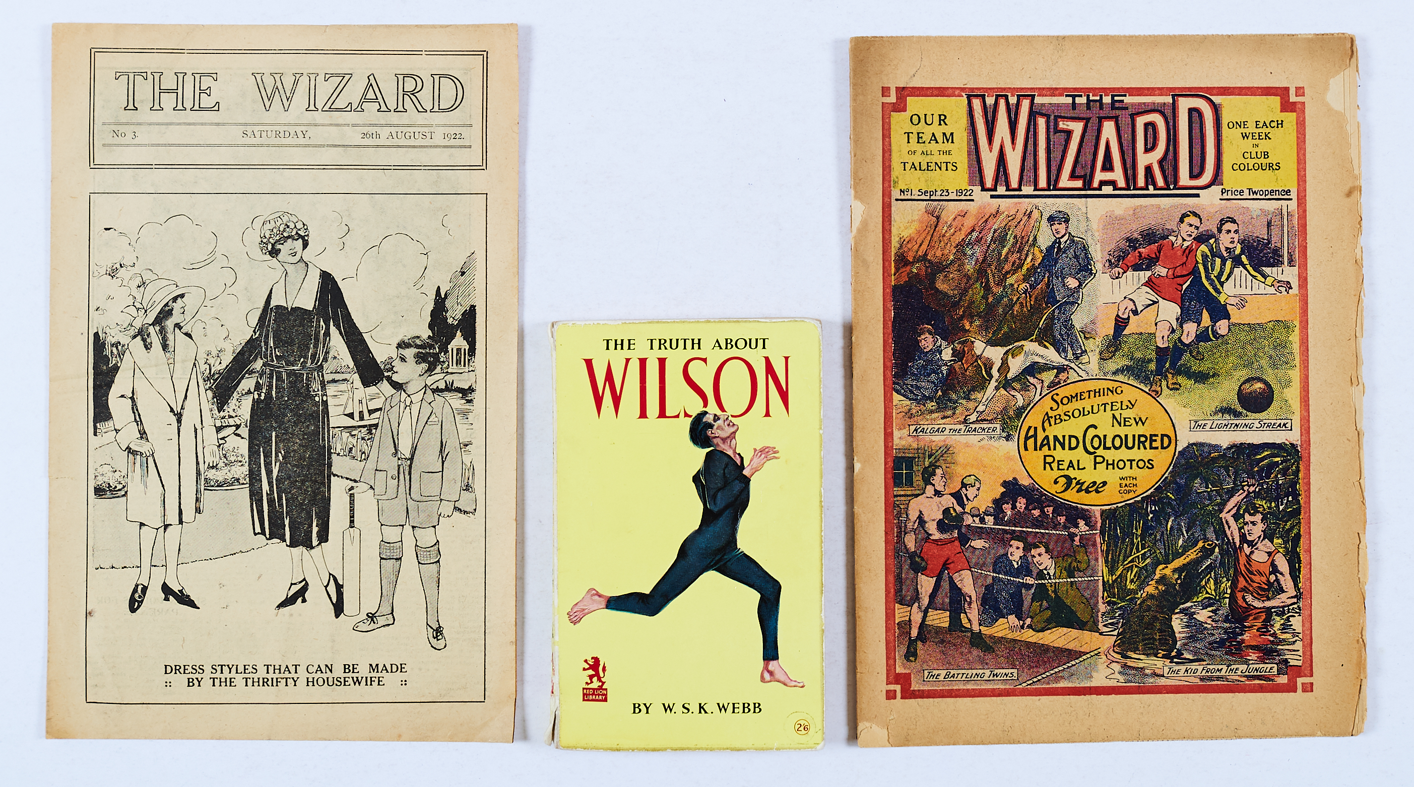 Lot 6 - Wizard No 1 (1922). Worn brittle R H edges to cover and 2 interior pages. With Wizard No 3 (26 Aug