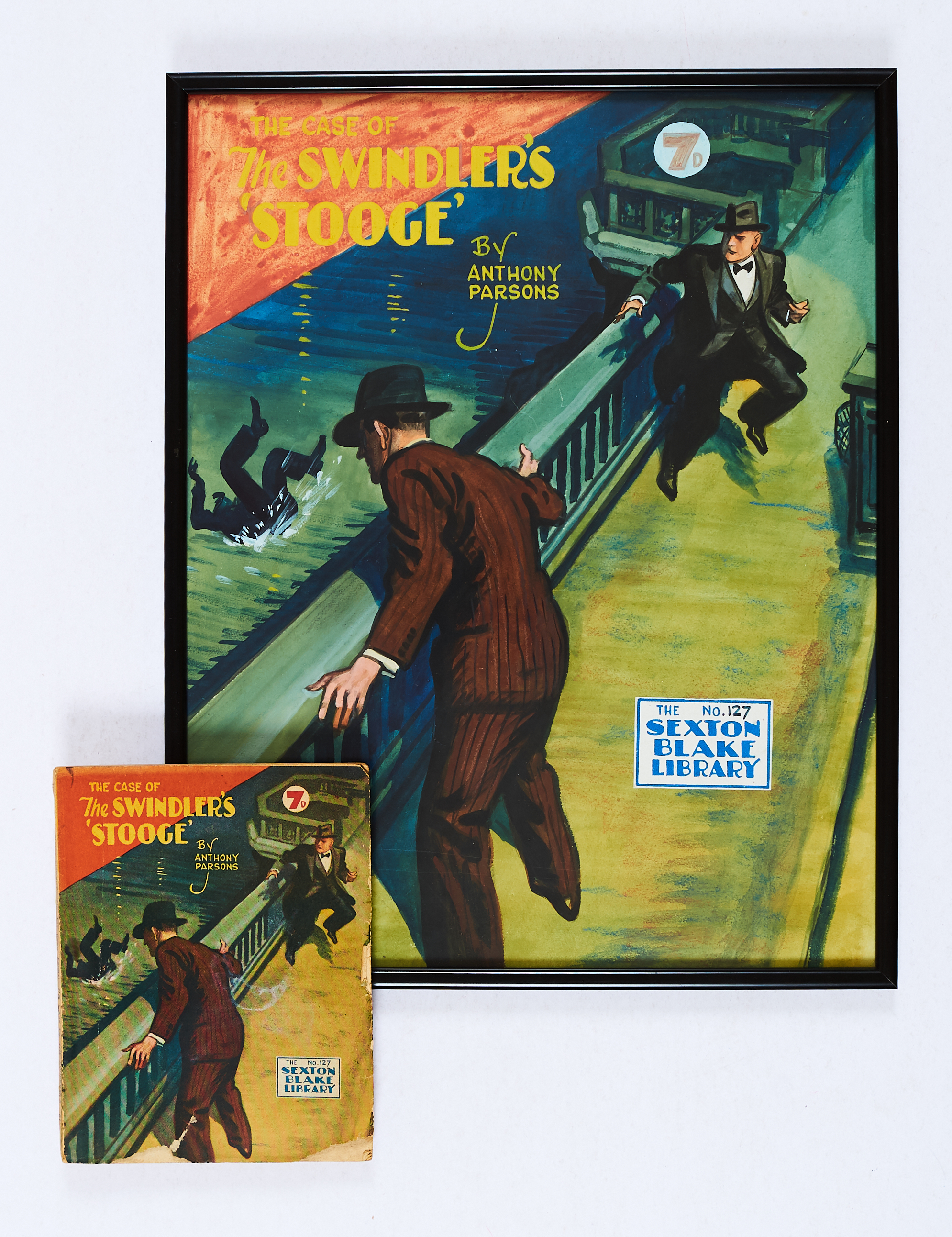 Lot 48 - The Swindler's Stooge original cover artwork (1947) by Eric Parker for Sexton Blake Library No