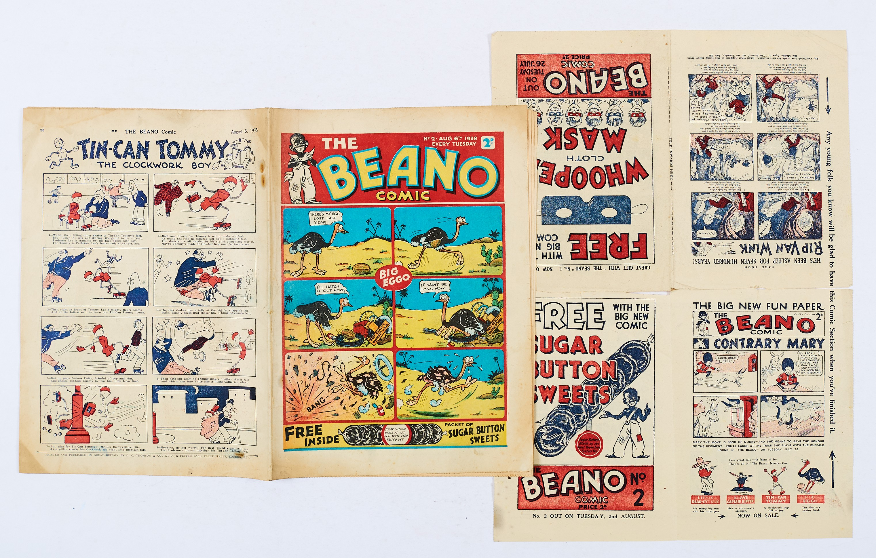 Lot 23 - Beano Comic No 2 (1938). With Beano No 1 and No 2 Flyer 8 pg Mini Comic. Bright cover with some
