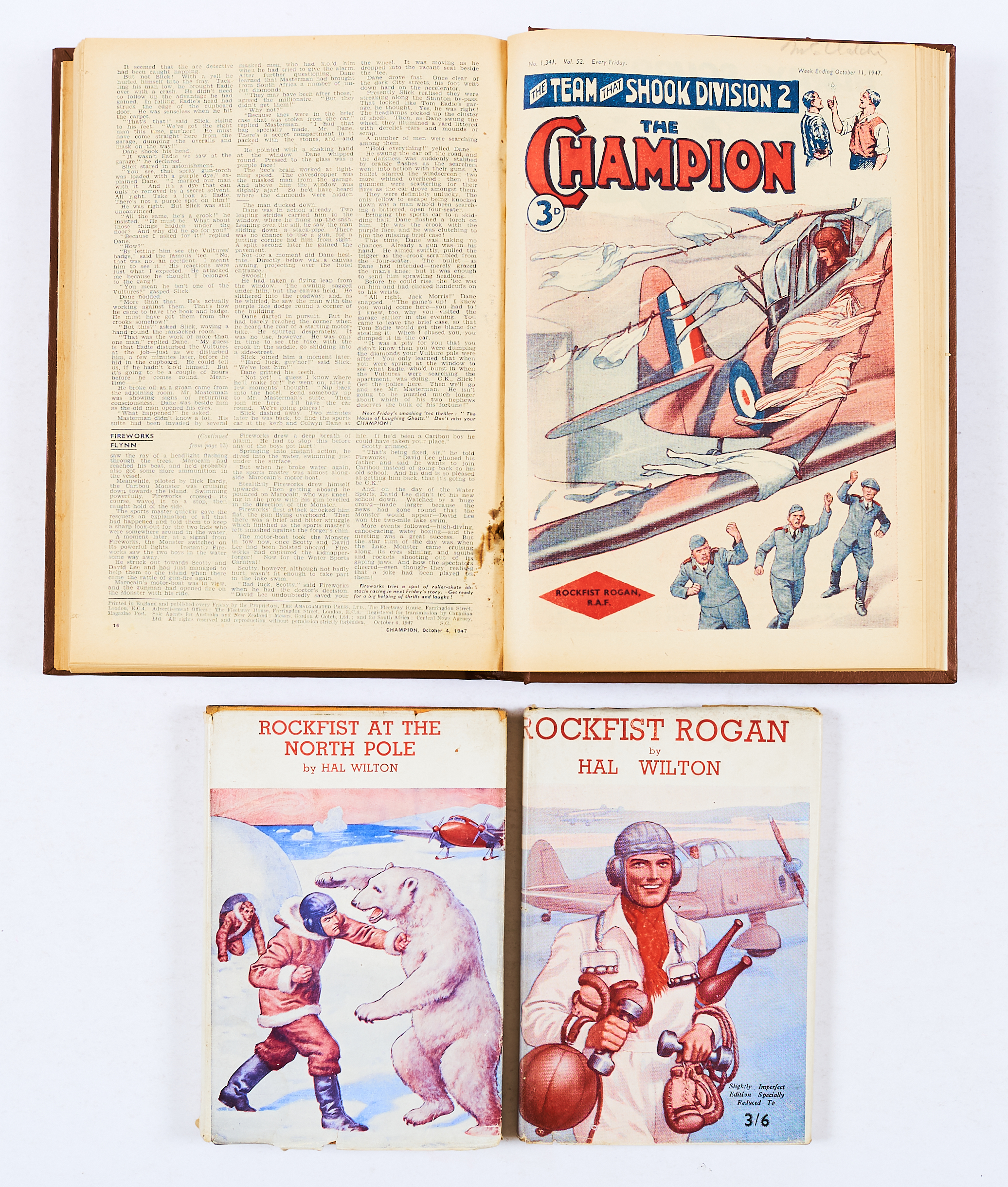 Lot 40 - Champion (1947) 1301-1352. Complete year in bound volume. Starring Rockfist Rogan RAF. A few [vg],