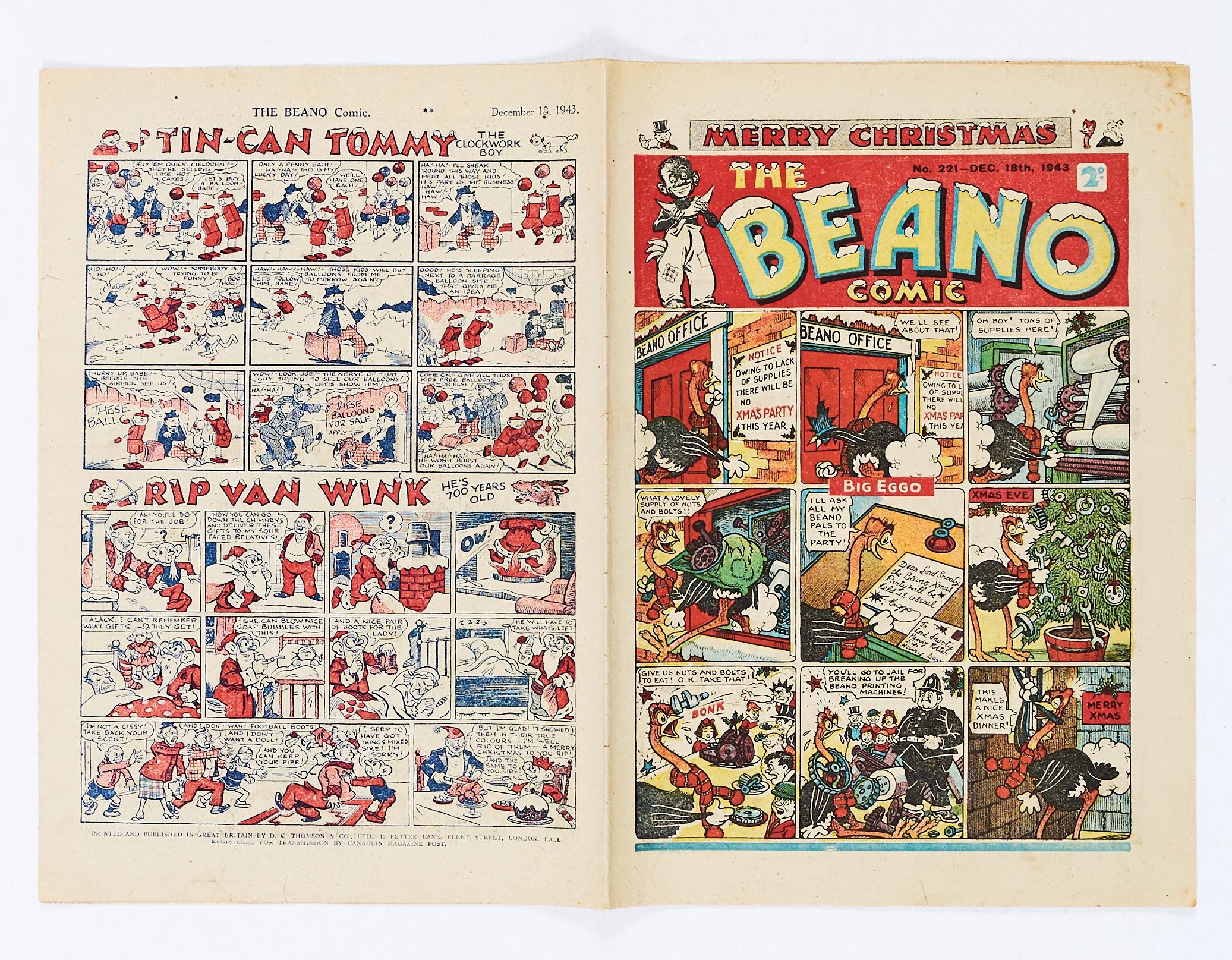 Lot 30 - Beano 221 (1943) Xmas propaganda war issue. The Beano sends a Christmas card to Hitler. Big Eggo