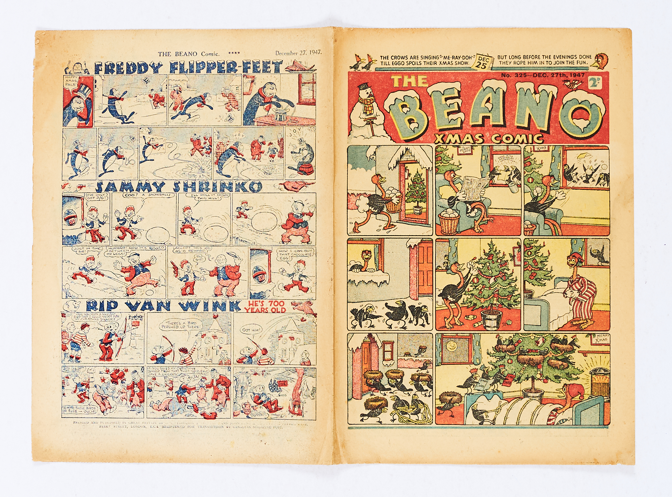 Lot 33 - Beano 325 (1947) Xmas Comic. Tanned cover [vg]. No Reserve