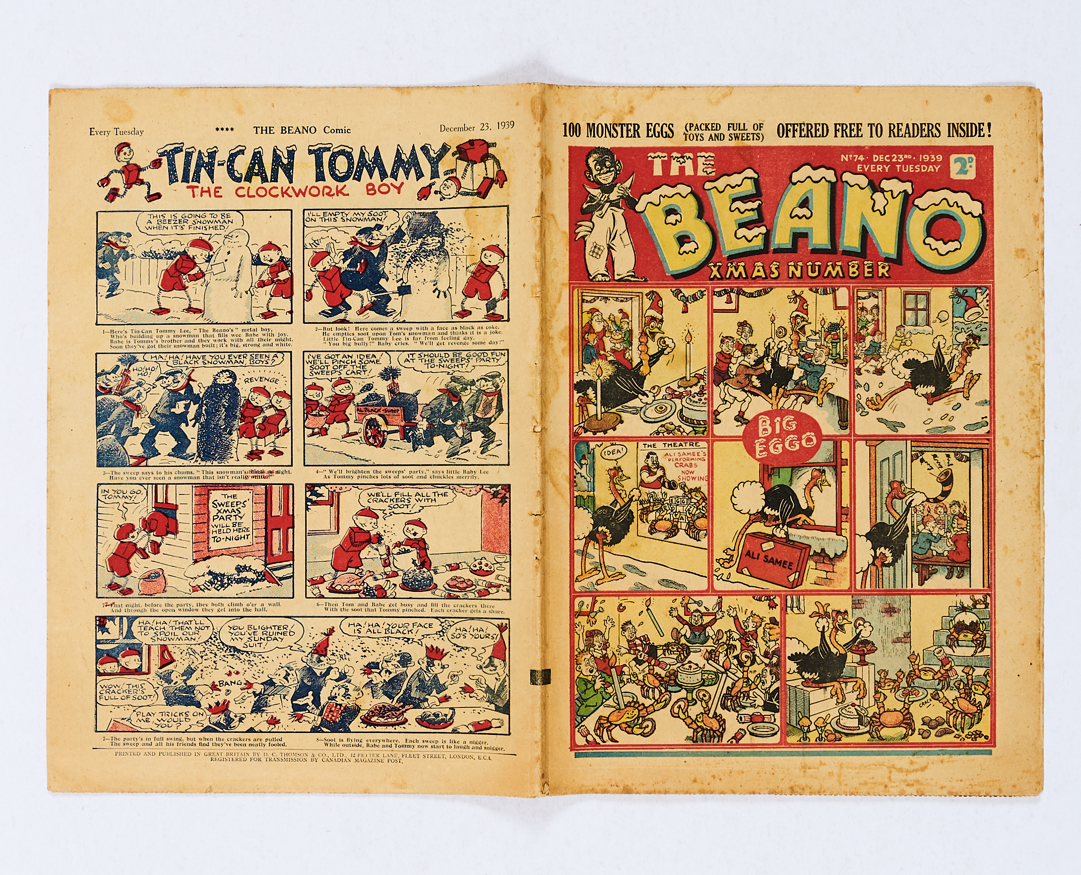 Lot 25 - Beano 74 (1939). Propaganda Xmas Number. Wild Boy of the Woods steals Nazi Christmas dinner, Daddy