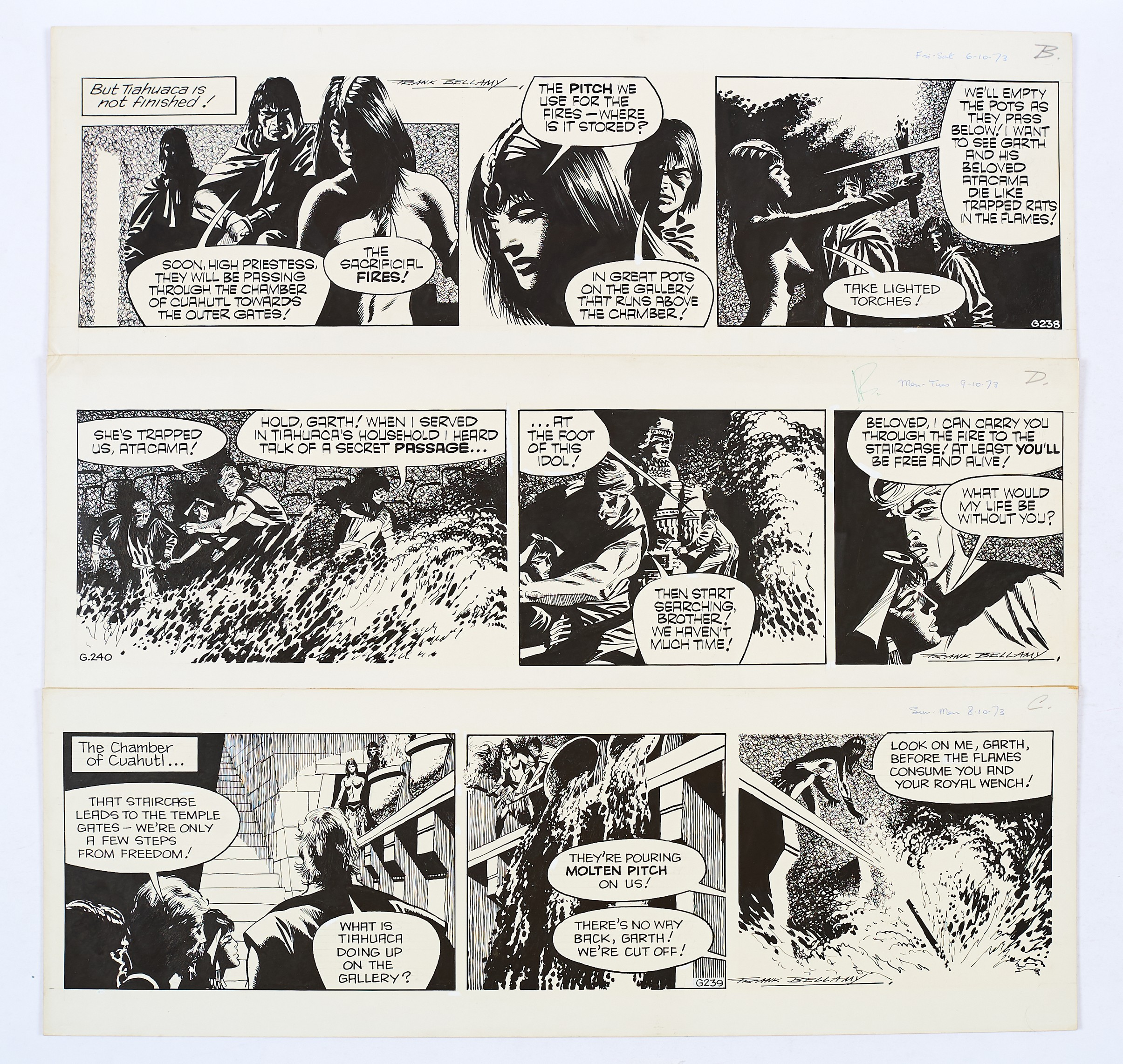 Lot 117 - Garth: 3 original consecutive artworks (1973) drawn and signed by Frank Bellamy from the Daily