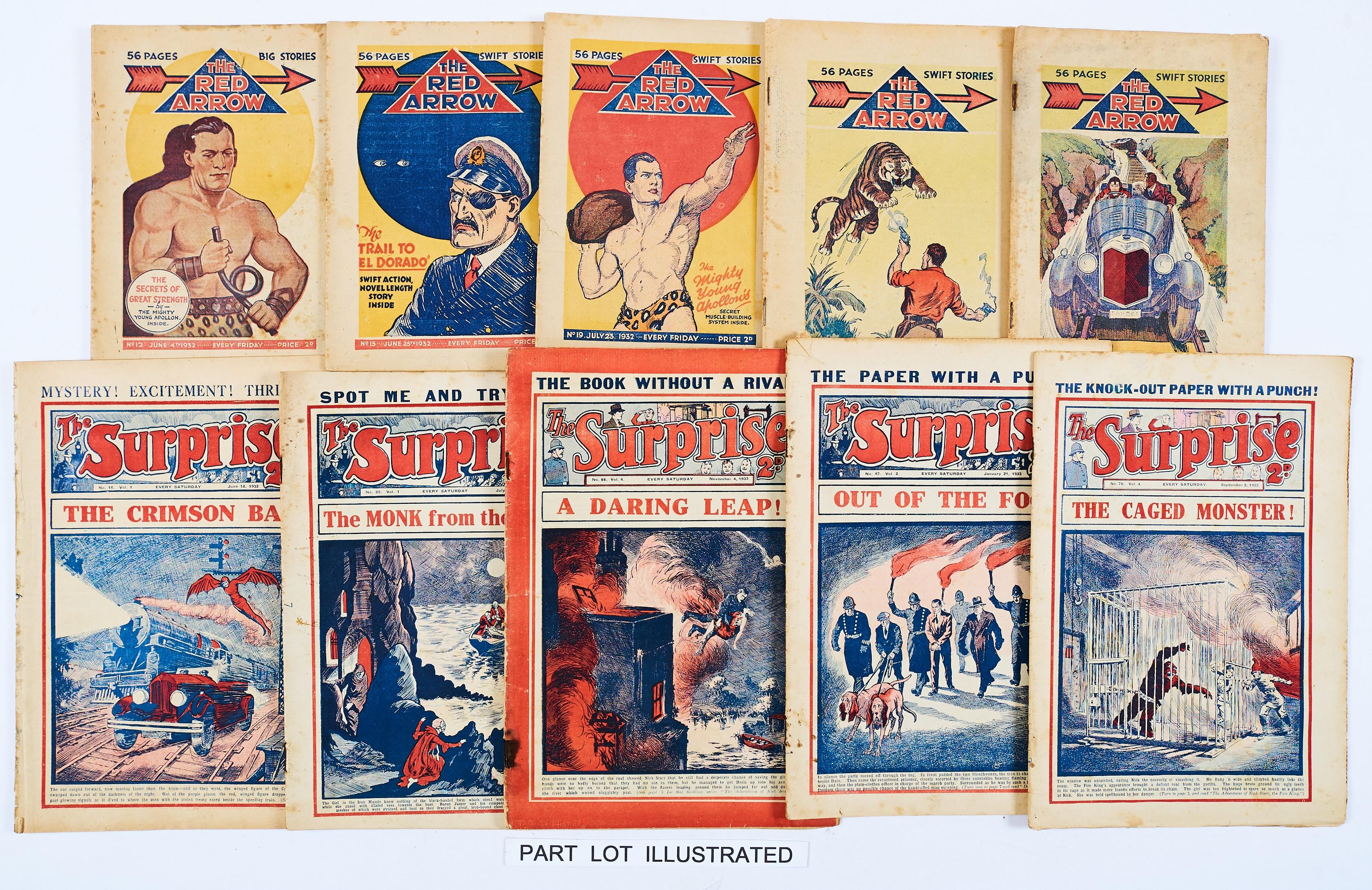 Lot 15 - Red Arrow (1932-33 D C Thomson) 9, 11, 12, 15, 19, 30, 31, 33, 46. With Surprise (1932-33 Am. Press)