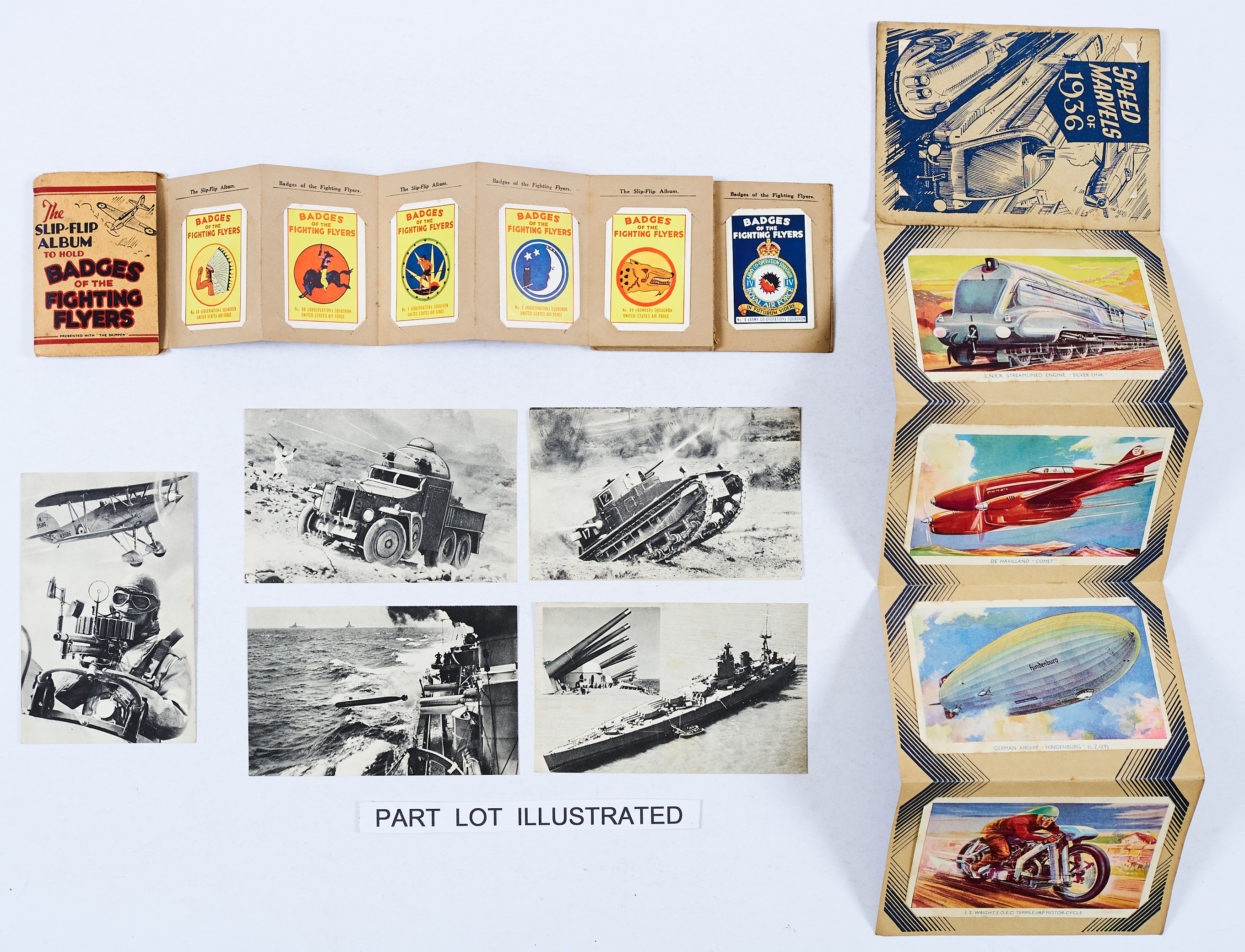 Lot 9 - Skipper and Modern Boy Giveaways (1936-38). Speed Marvels of 1936 with 8 colour postcards complete