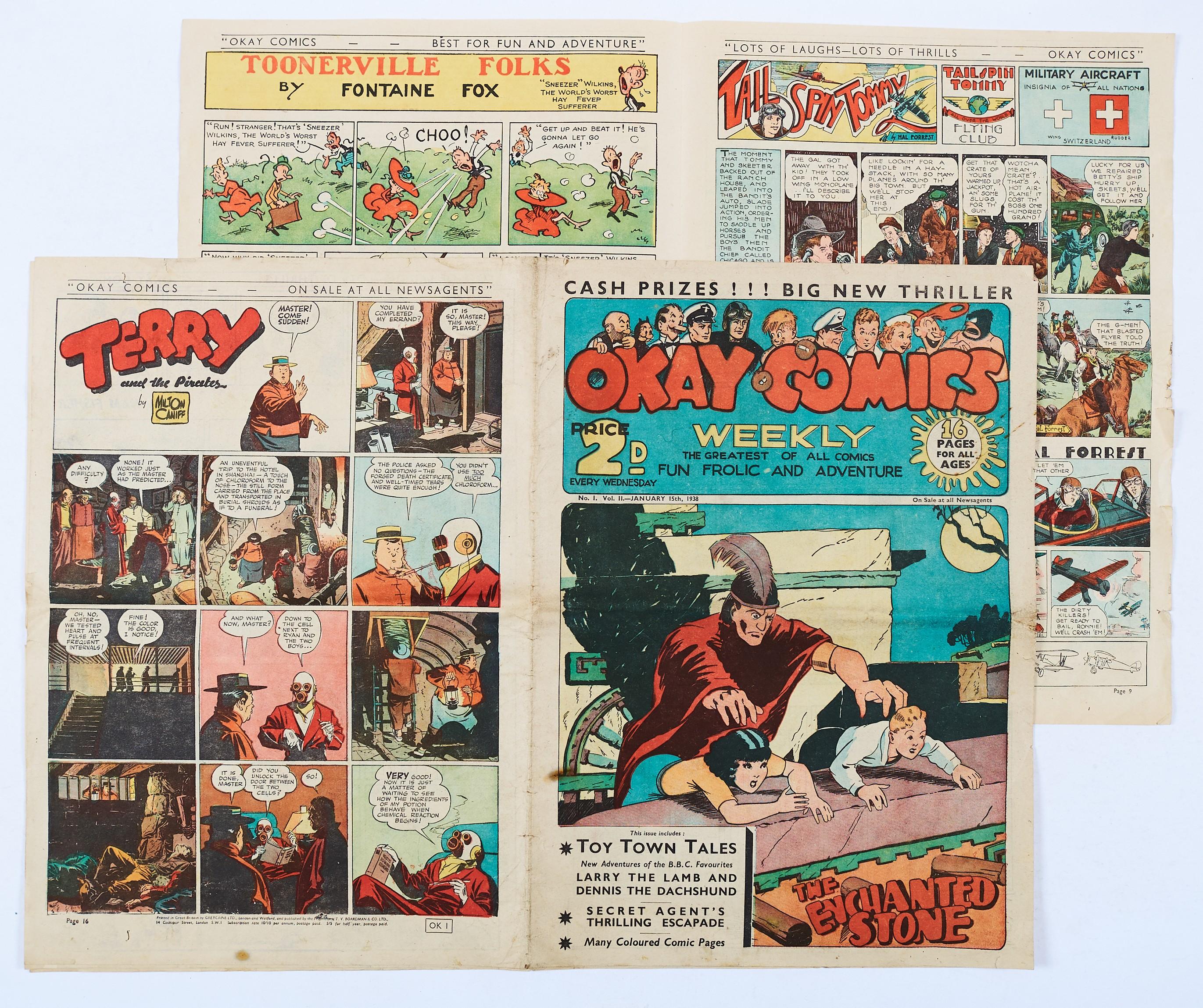Lot 13 - Okay Comics (1938 T.V. Boardman) No 1, Vol 2. UK reprints of Mutt & Jeff. Smokey Stover, Toonerville