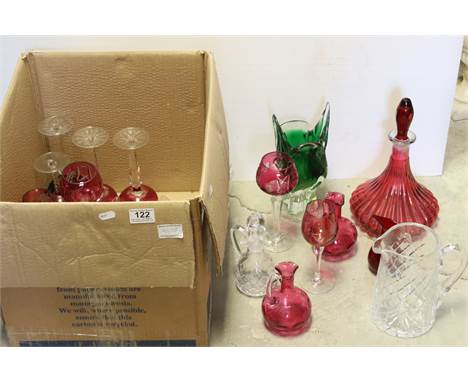 A quantity of cranberry and clear glass Hock glasses Whitefriars jug, cranberry decanter etc.