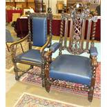 A 19th century carved oak armchair and two similar armchairs, (3).