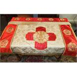 An embroidered Rose Croix Masonic Red Room altar cloth, 140 x 83cm and two black room altar