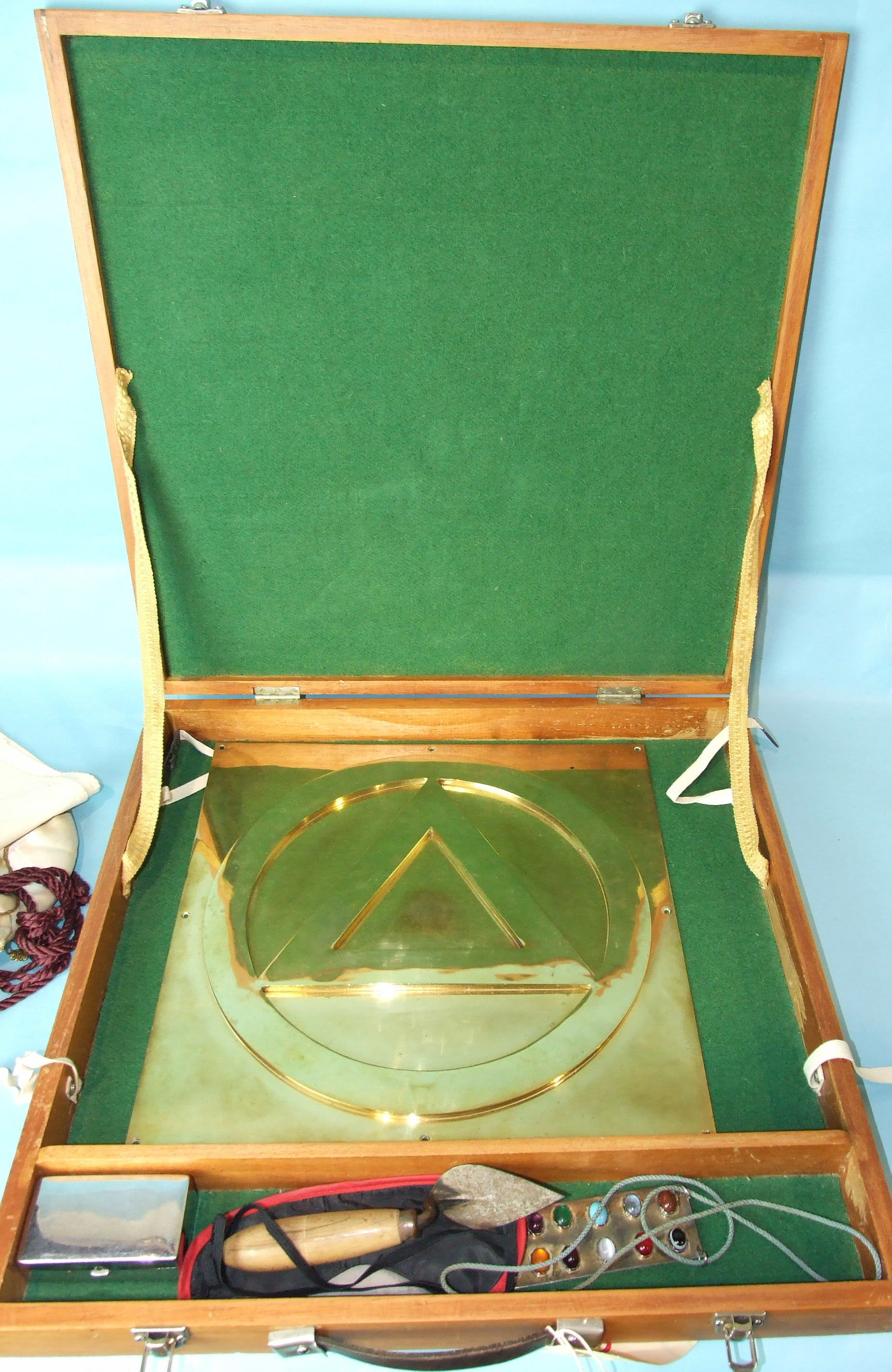 Lot 40 - A brass Masonic altar plate by Toye & Co, London and a white metal Third Principal Tribe's stone-set