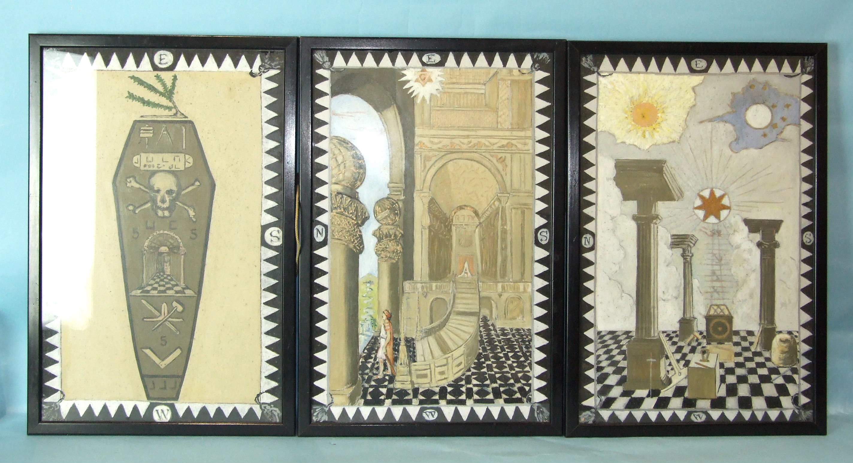 Lot 19 - A set of three hand-painted Masonic tracing boards, in black picture frames, 51 x 33cm, (3).