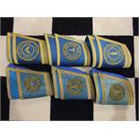 A set of ladies Masons Master and Wardens cuffs with Golden Hind lodge No.8 roundels and an older