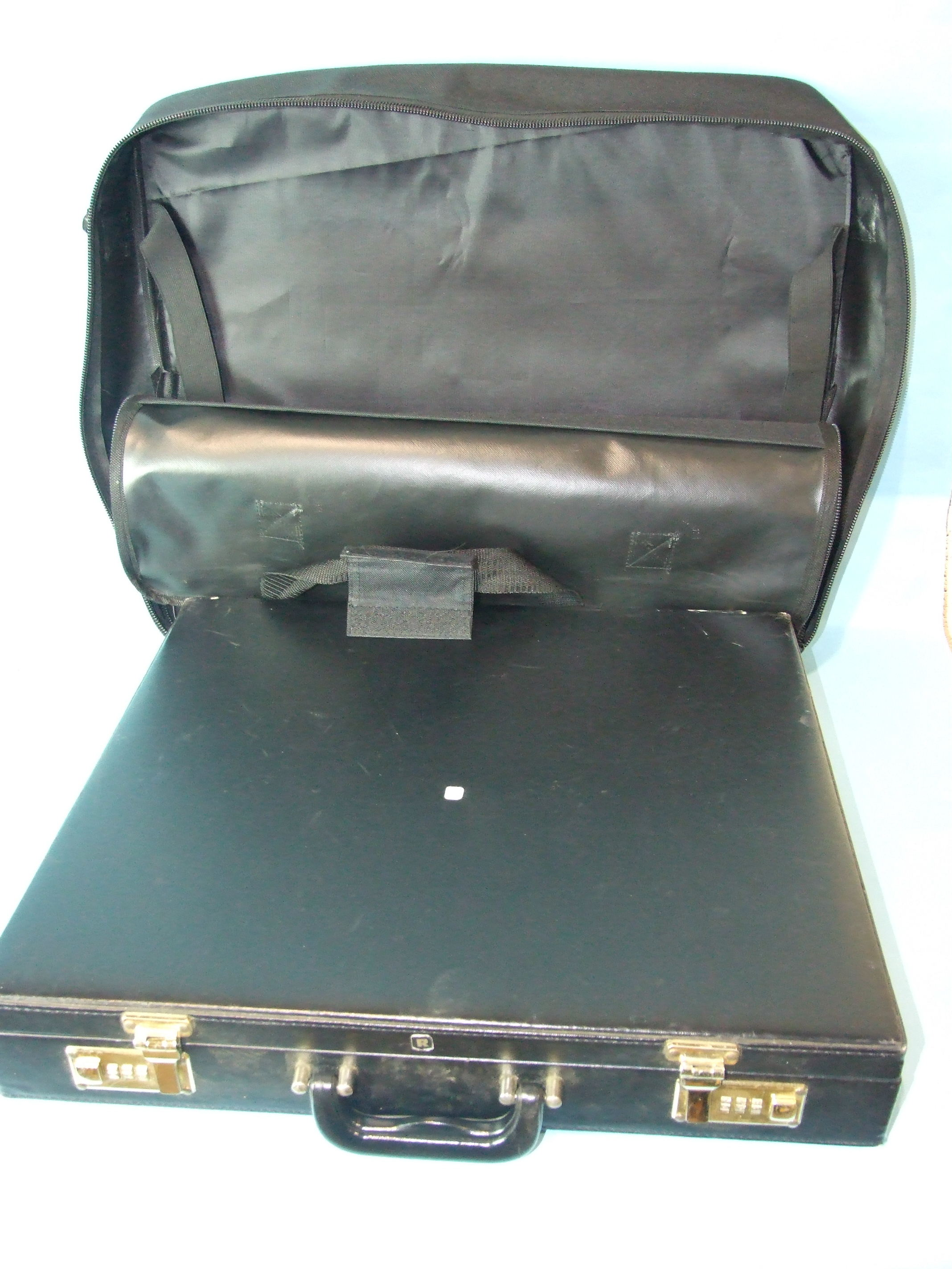 Lot 53 - A Grand Officer soft regalia case and a Provincial Grand Officer artificial leather hard case, (2).