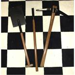 A set of Masonic HRA implements of labour, of painted and turned wood.