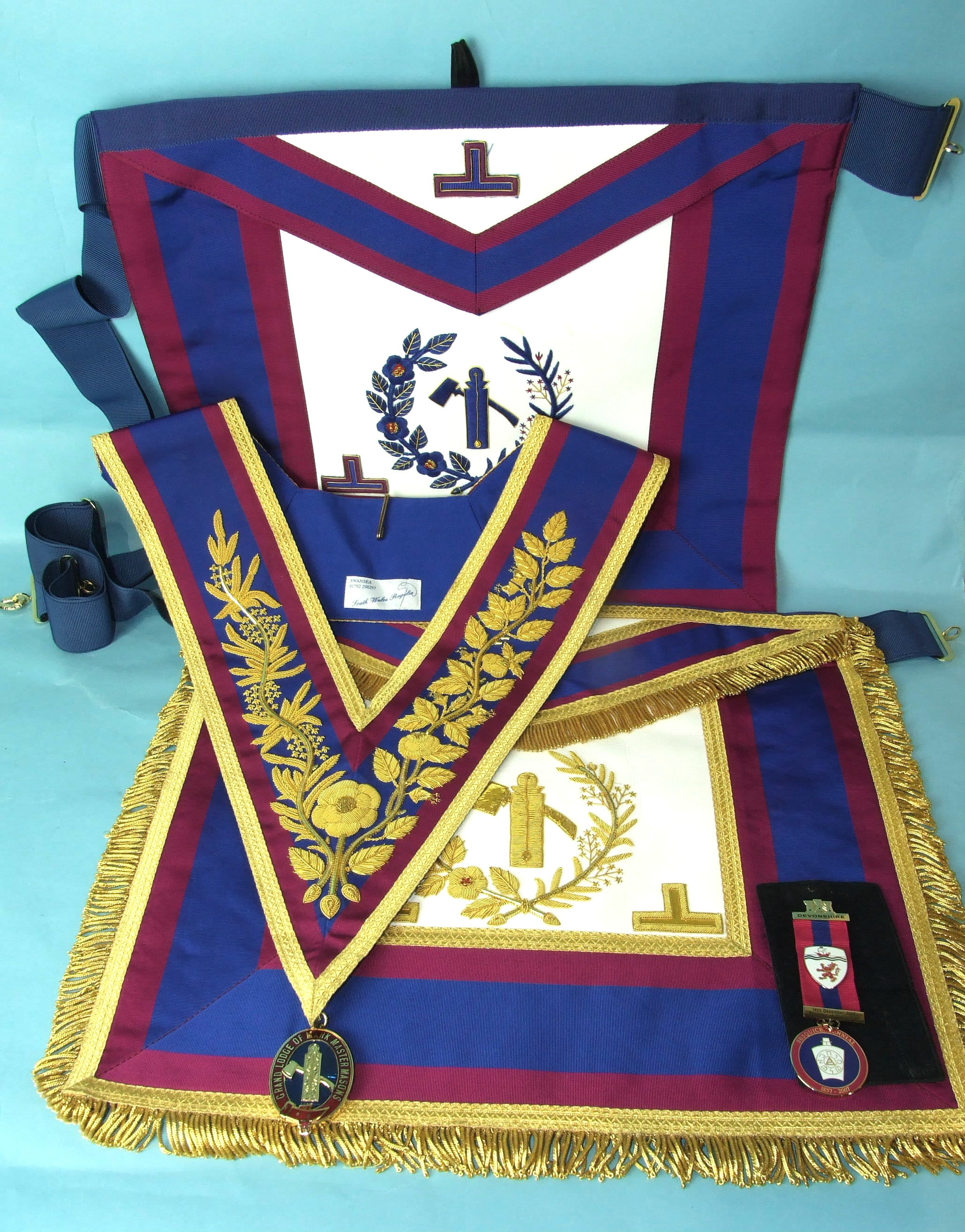 Lot 52 - A Mark Grand Officers Junior Warden's dress and undress apron and dress collar with gilt enamel