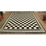 A large Masonic black and white carpet, the tessellated pavement within a diamond border