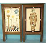 A set of three Masonic tracing boards painted in watercolours, 51 x 33cm, in oak frames, (3).