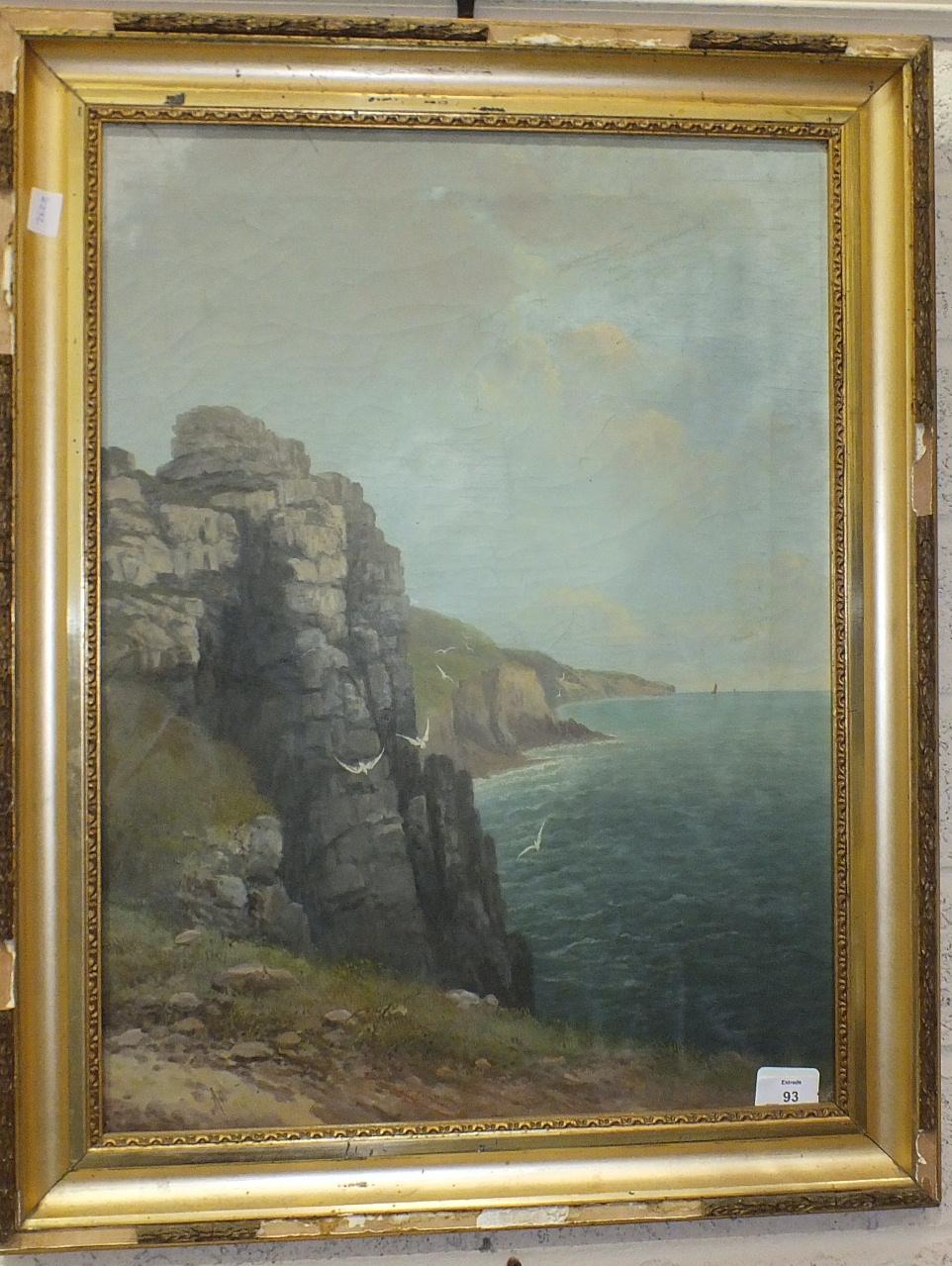 Lot 93 - Albert Scheth, 'Kynance Cove, Cornwall', indistinctly-signed oil on canvas, 25 x 44cm, Allam, '