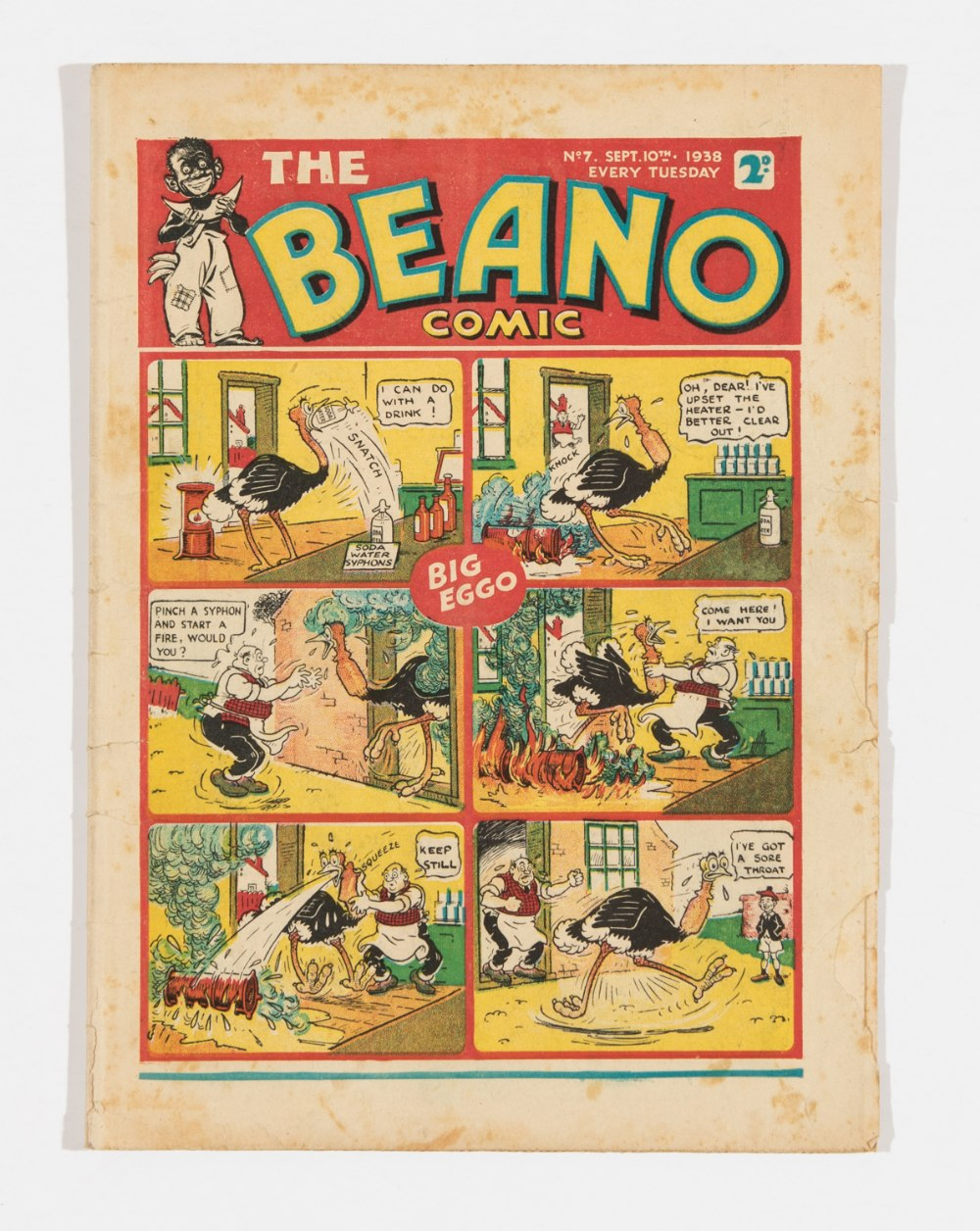Lot 27 - Beano No 7 (1938). Bright cover with two thumb-size margin pieces missing from RH edge. Pg 3 has 7