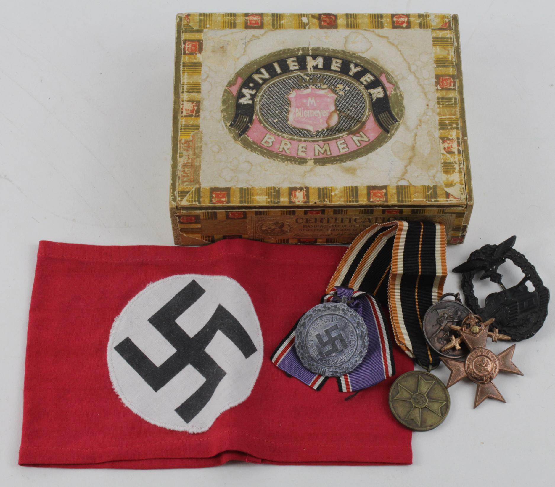 German NSDAP Party armband with various German medals ...