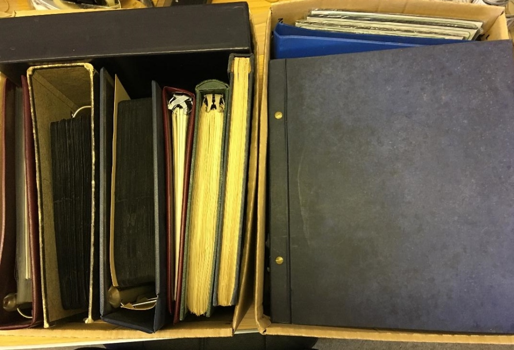Lot 20 - STAMPS : Mixed accumulation of old albums etc in four boxes,