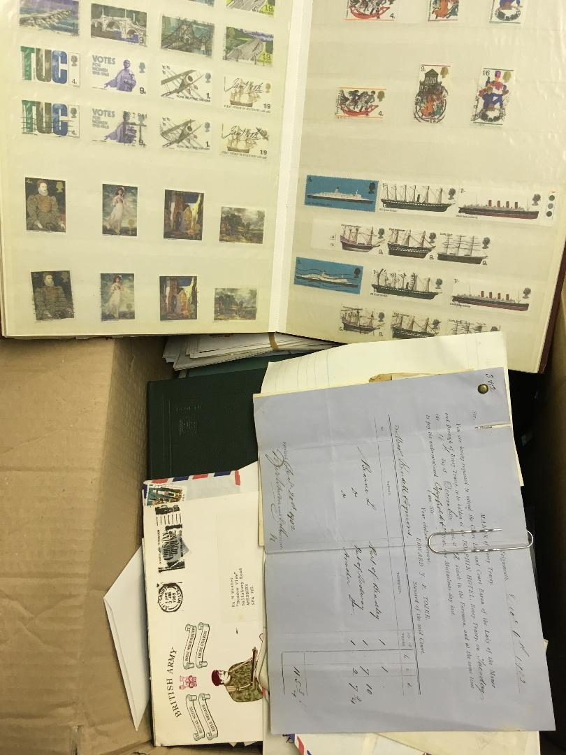 Lot 34 - STAMPS : WORLD, box with various albums, stockcards, covers etc.