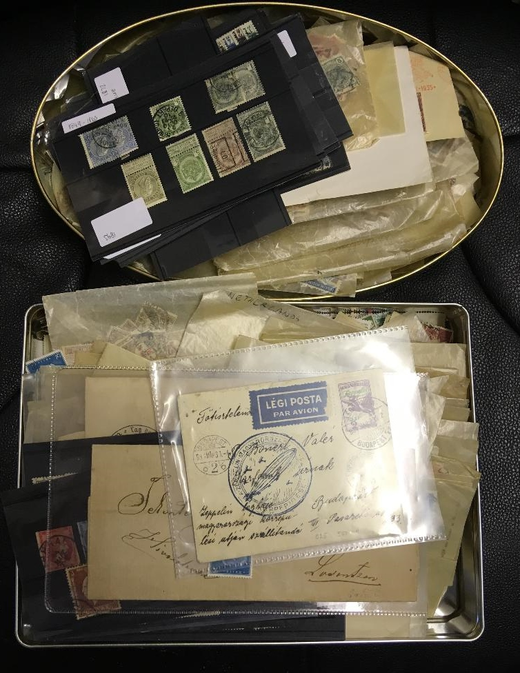 Lot 9 - STAMPS : Blue tin with Austria,