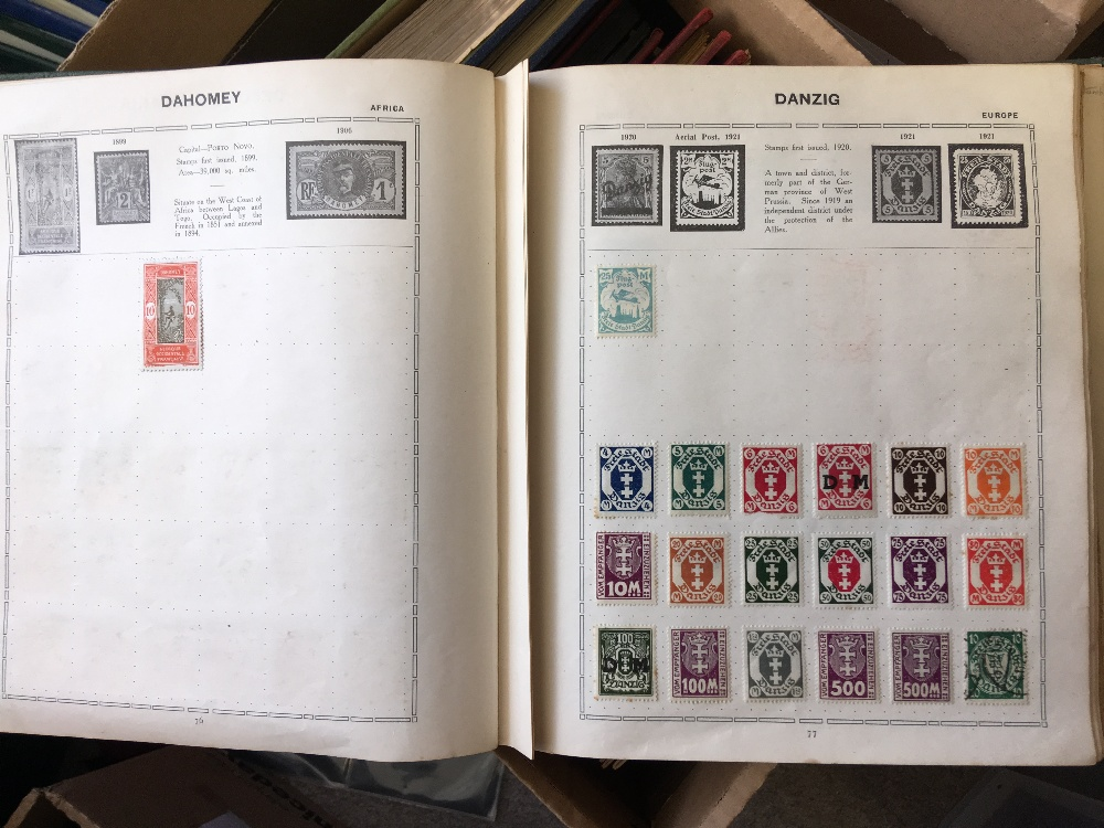 Lot 23 - STAMPS : World accumulation in various old albums including GVI Green Crown album (empty),